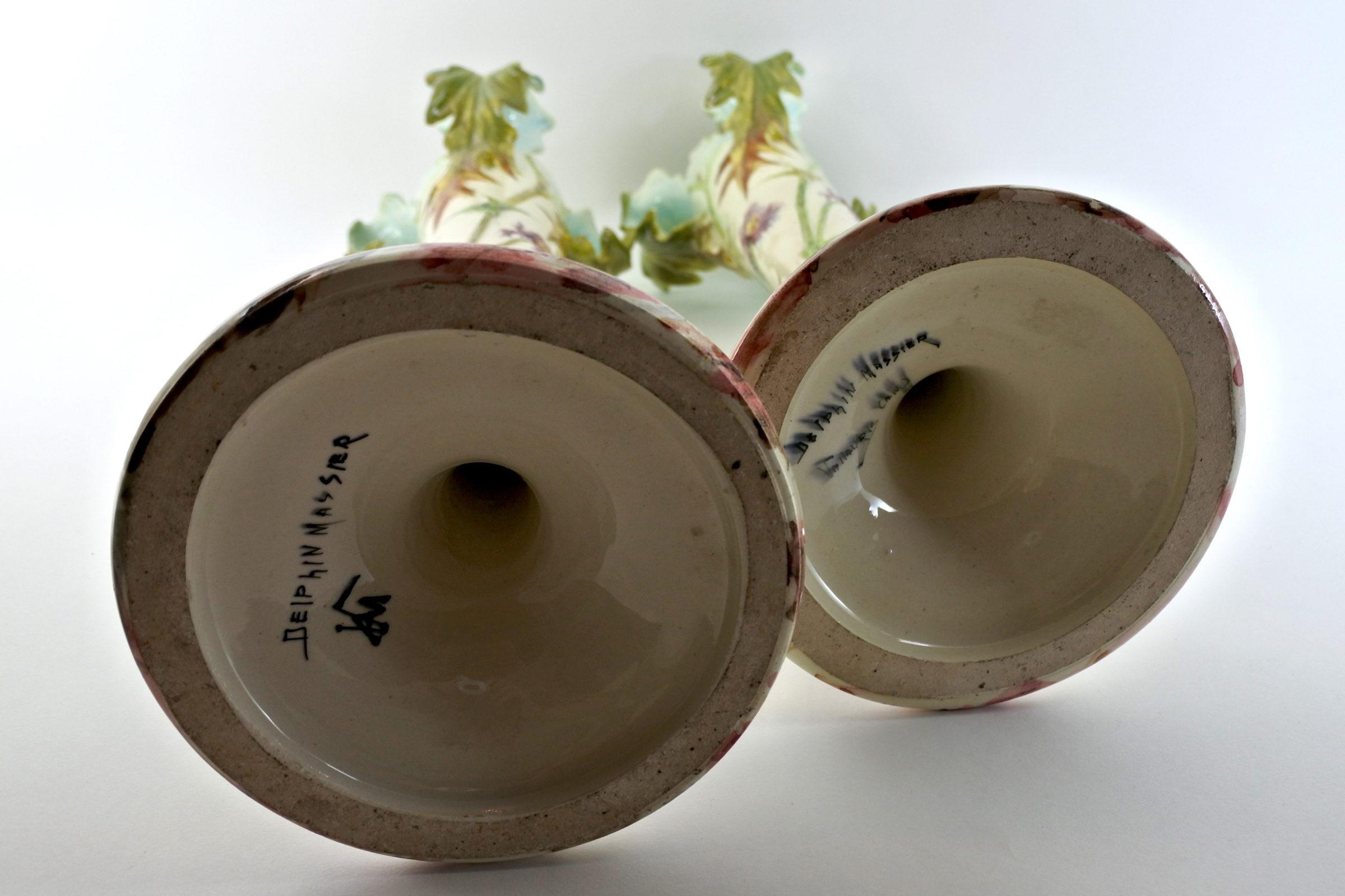 Coppia di vasi di Delphin Massier con cardi - 5