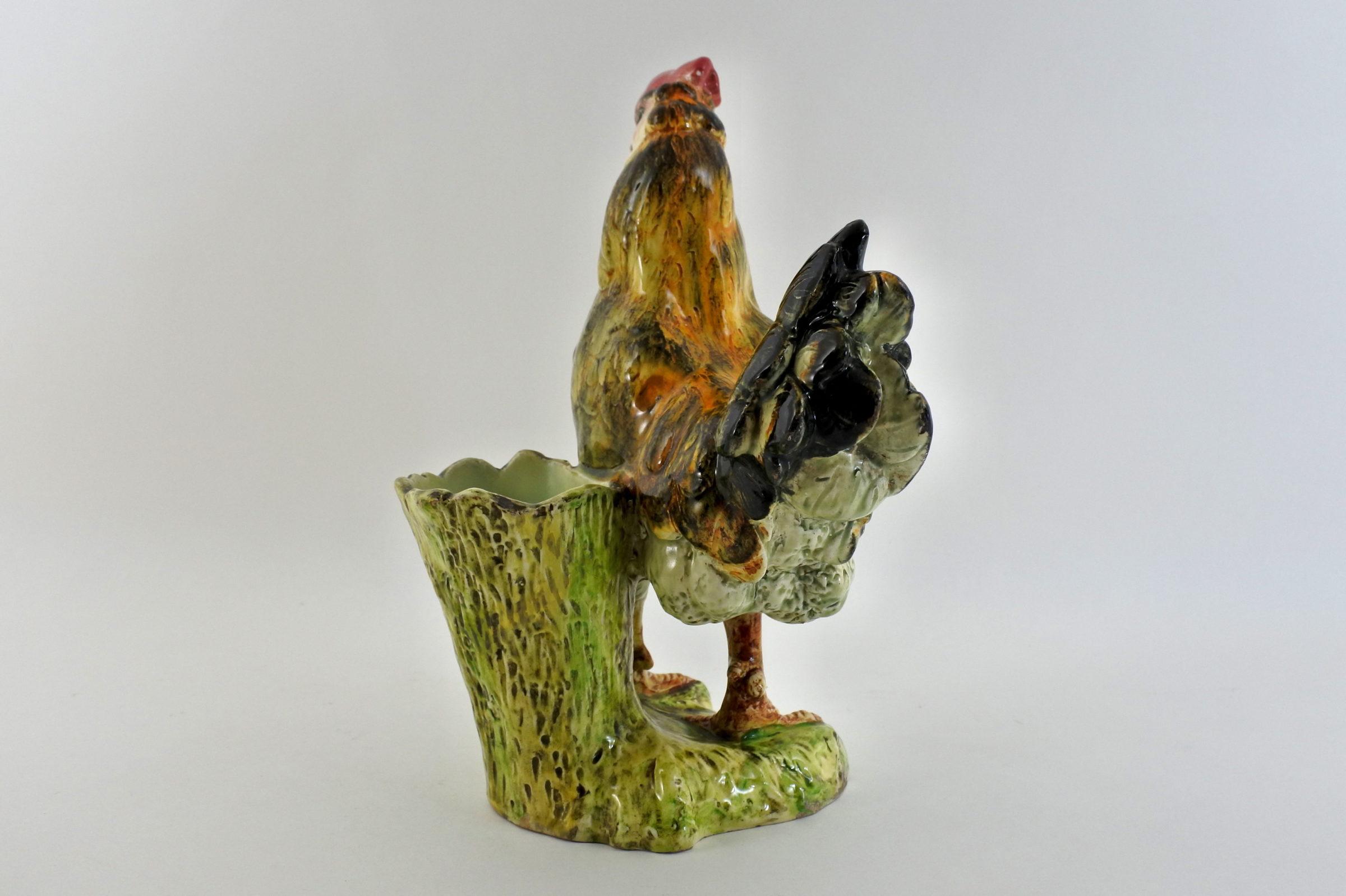 Jardinière Massier in ceramica barbotine a forma di gallina - 2