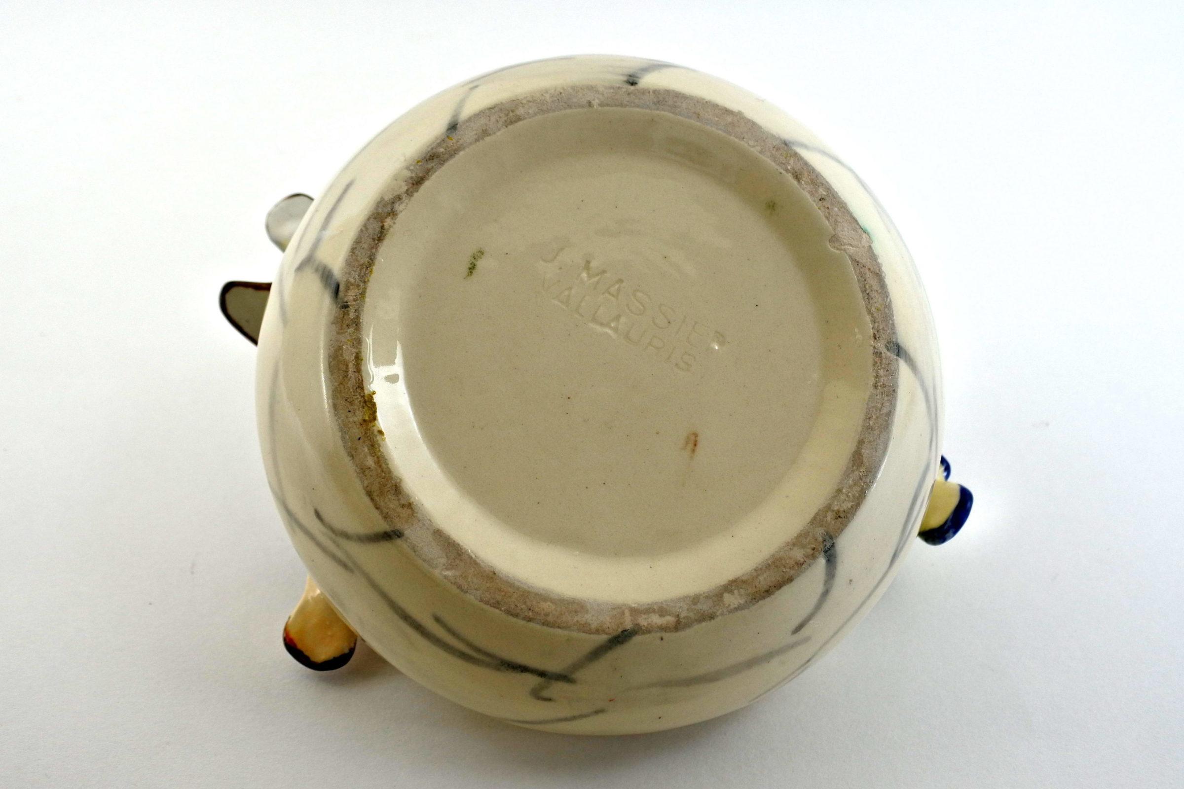 Jardinière Massier in ceramica barbotine con 4 uccellini - 3