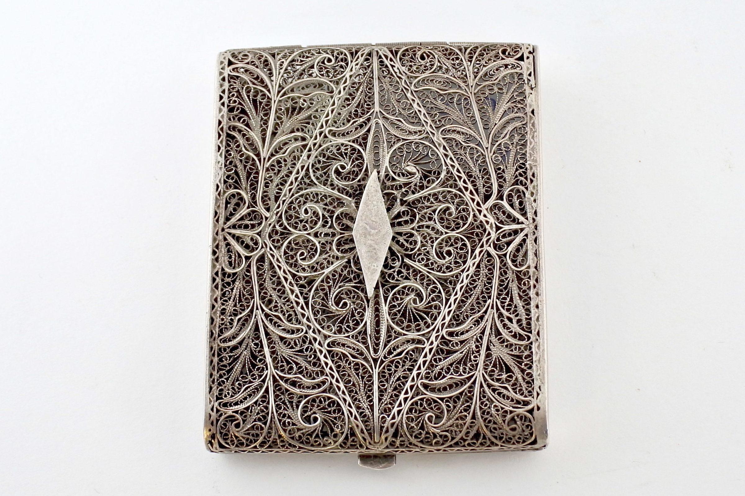Portabiglietti in filigrana d'argento con decoro floreale - 2