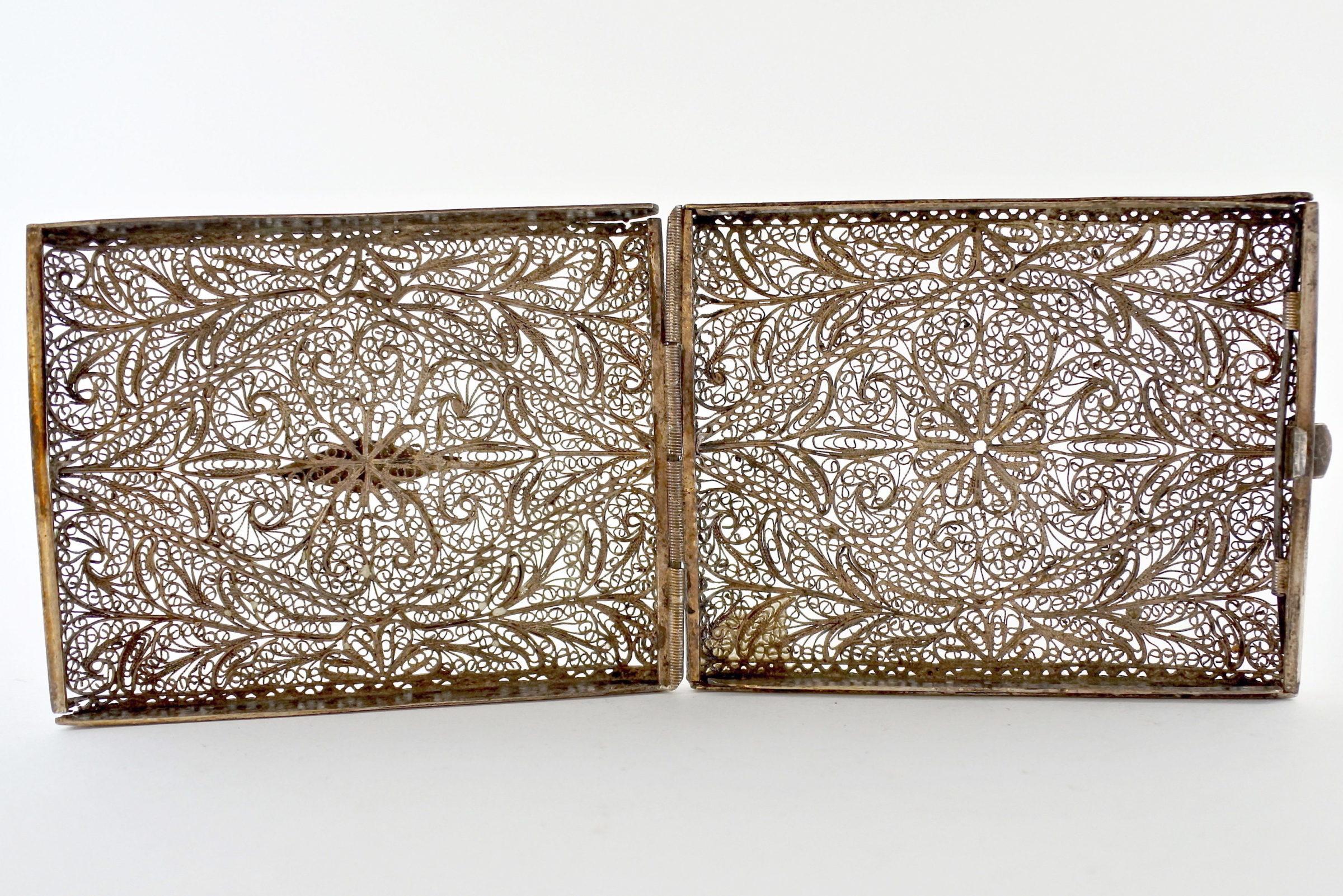 Portabiglietti in filigrana d'argento con decoro floreale - 3
