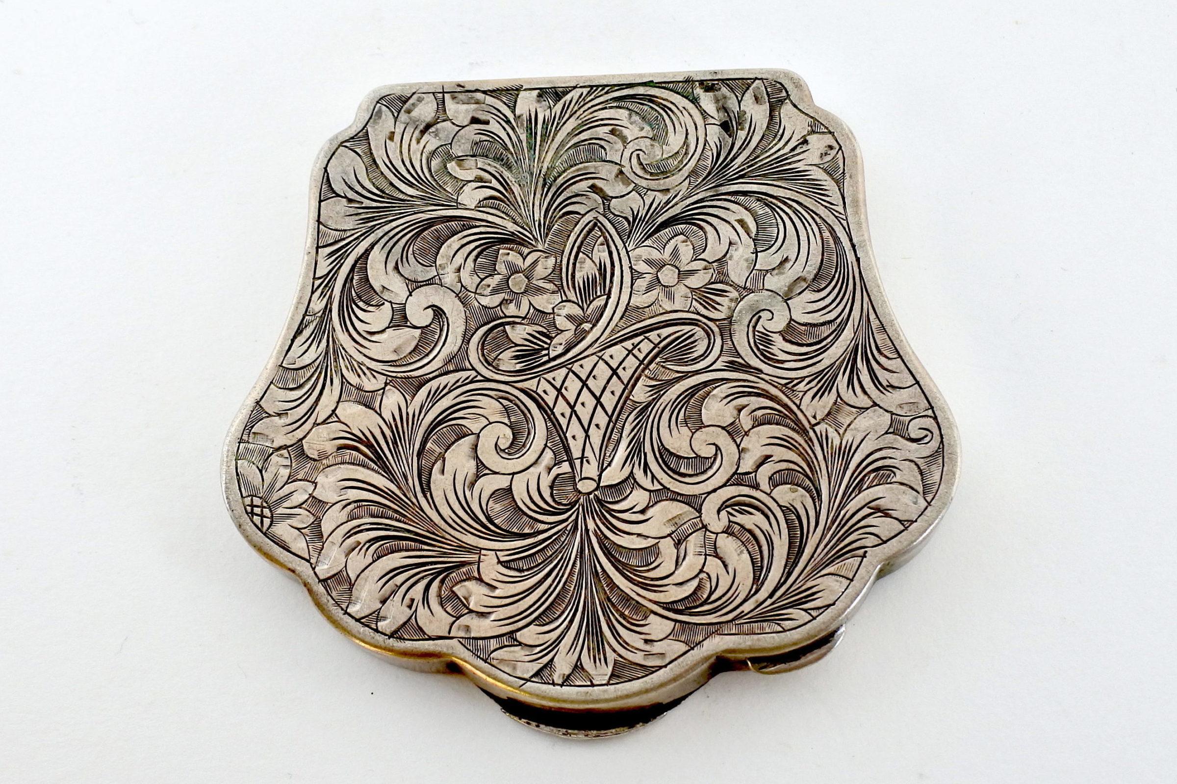 Portacipria in argento con decoro floreale - 2