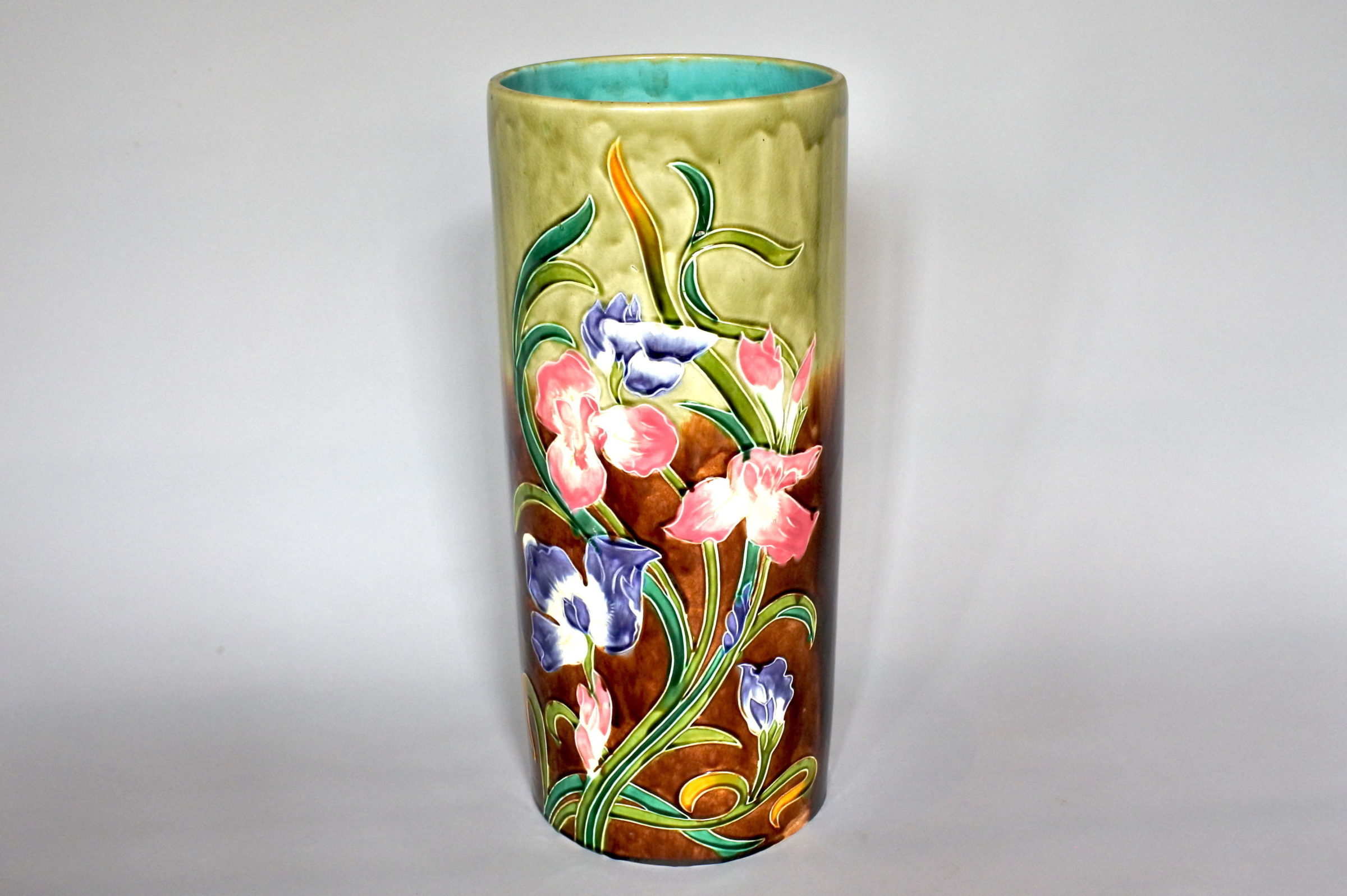 Portaombrelli in ceramica barbotine con fiori