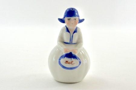 Portasale in ceramica bianca e blu a forma di olandesina