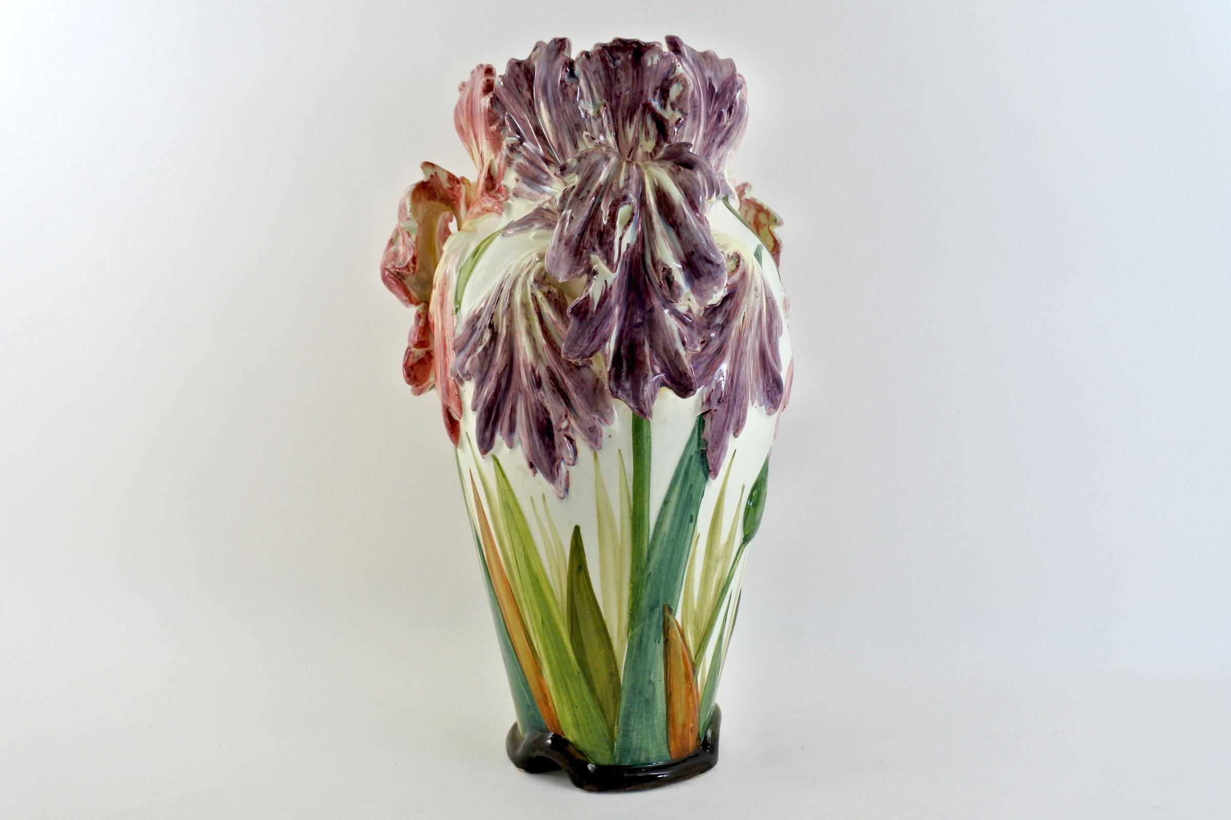 Vaso Massier in ceramica barbotine con tulipani pappagallo - Tulipes perroquet - 2