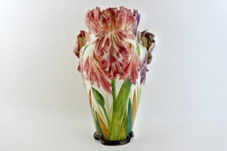 Vaso Massier in ceramica barbotine con tulipani pappagallo - Tulipes perroquet
