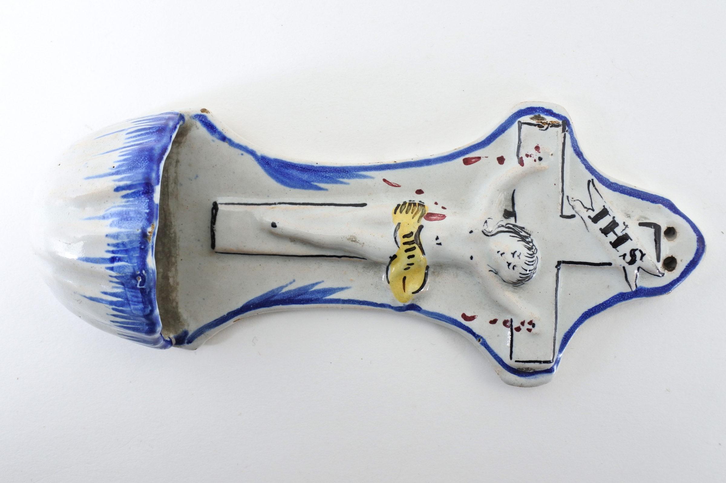 Acquasantiera in ceramica del XIX° secolo - Altezza 19,5 cm - 2