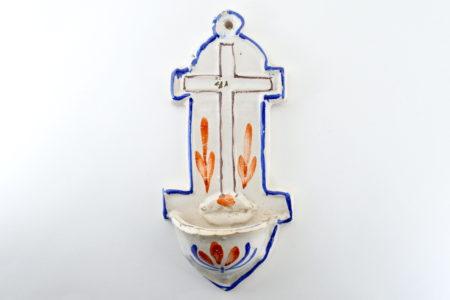 Acquasantiera in ceramica del XIX° secolo - Altezza 21 cm