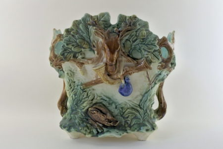 """Cache pot Onnaing """"la caccia"""" in ceramica barbotine"""