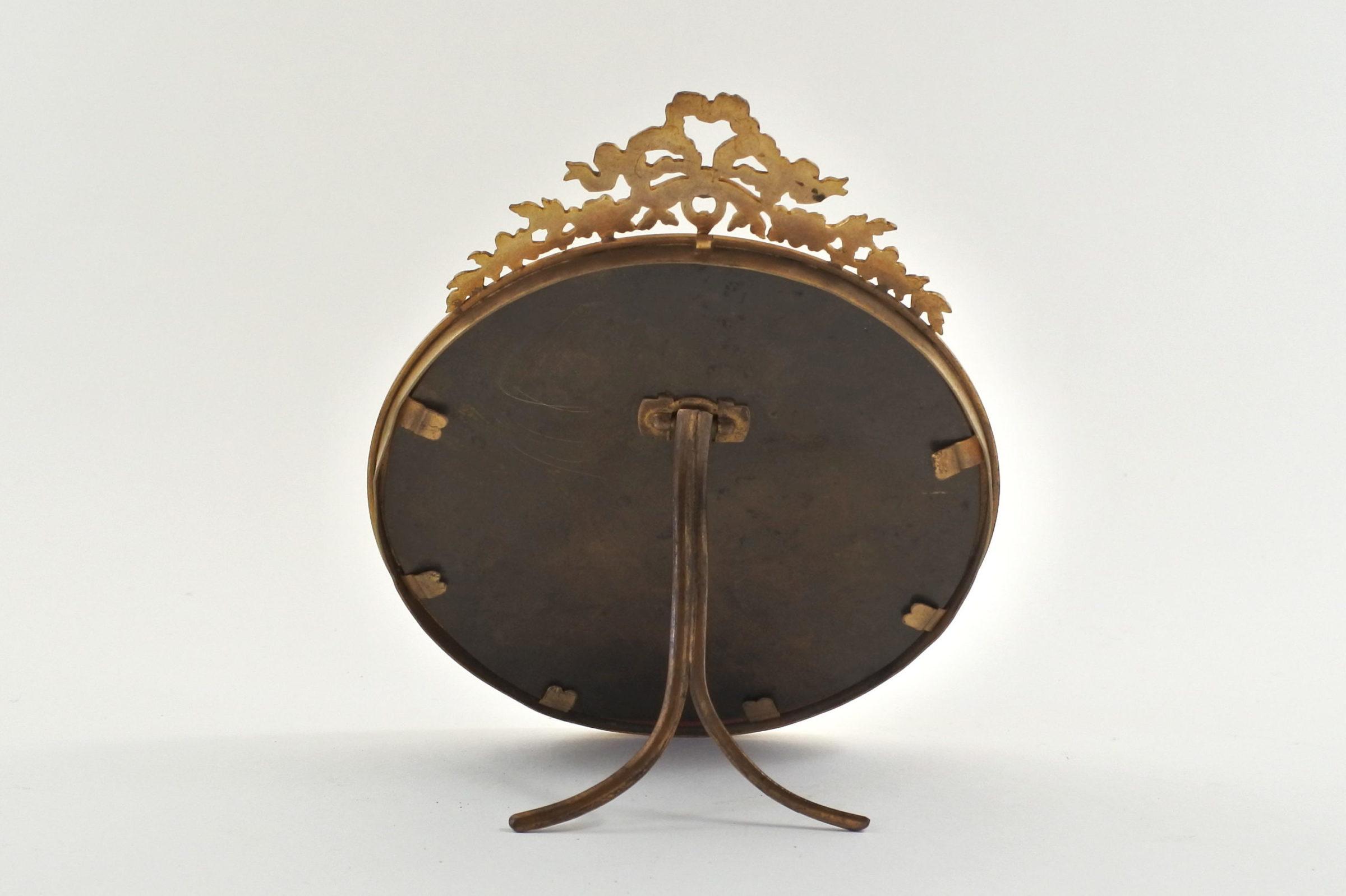 Cornice portafoto antica in bronzo dorato di forma rotonda - 2