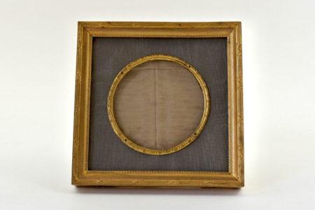 Cornice portafoto antica quadrata in ottone dorato