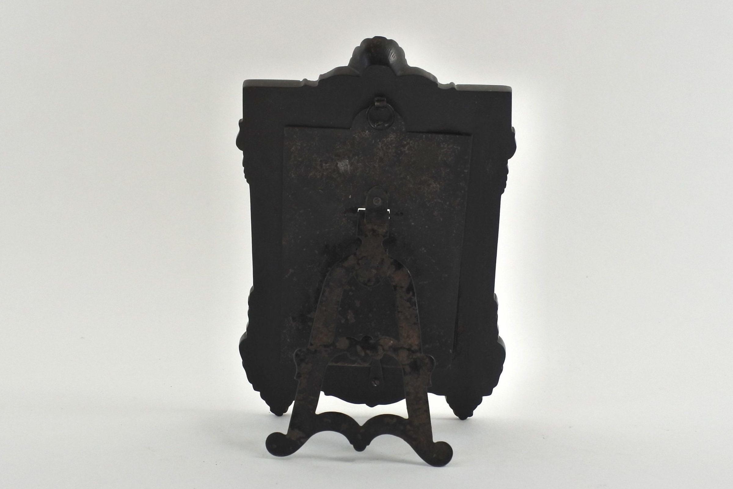 Cornice portafotografia antica in ebanite nera - 2