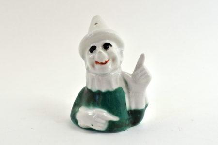 Portasale in ceramica a forma di clown