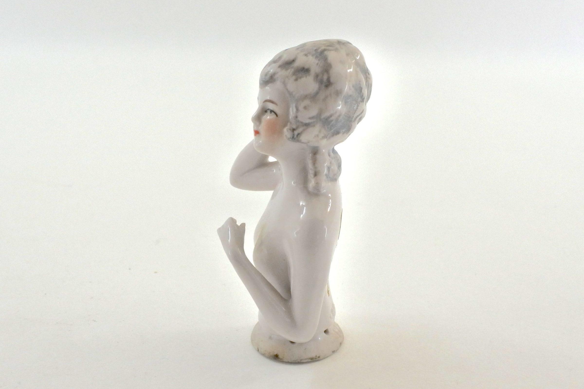 Statuina mezzo busto di donna in ceramica - demi poupée - 2