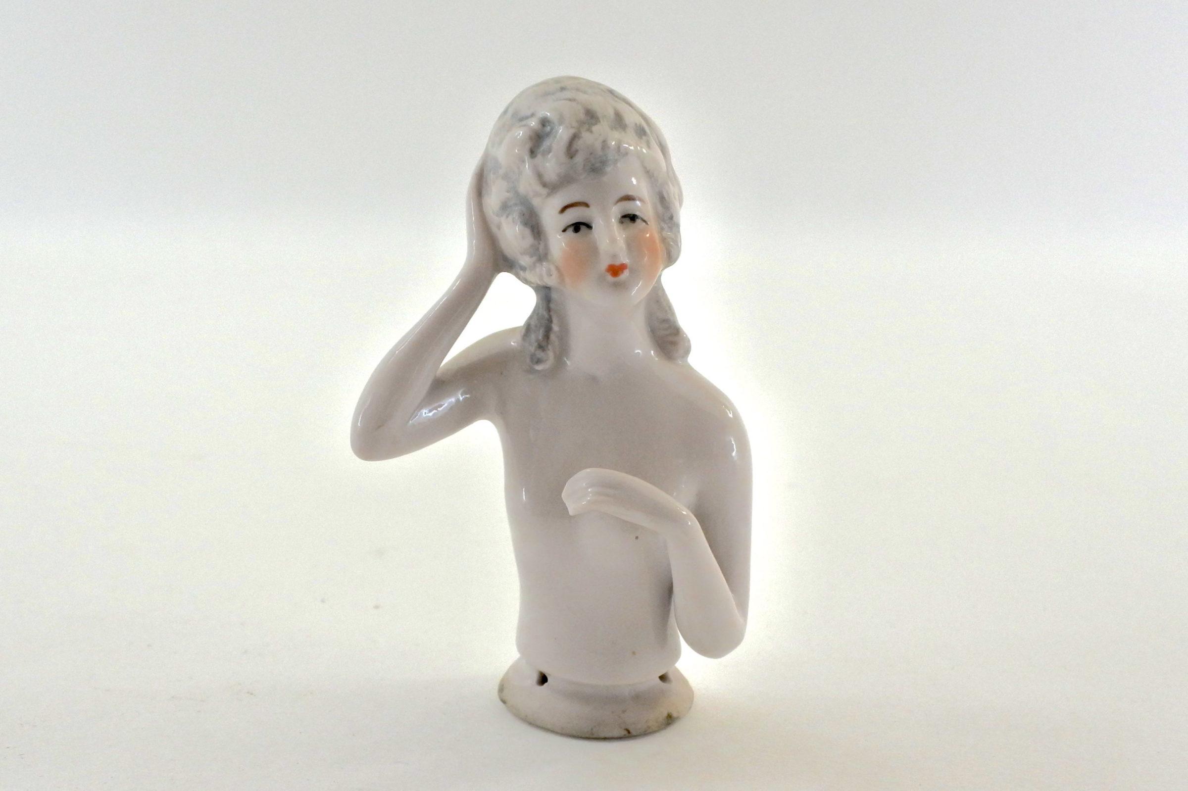 Statuina mezzo busto di donna in ceramica - demi poupée