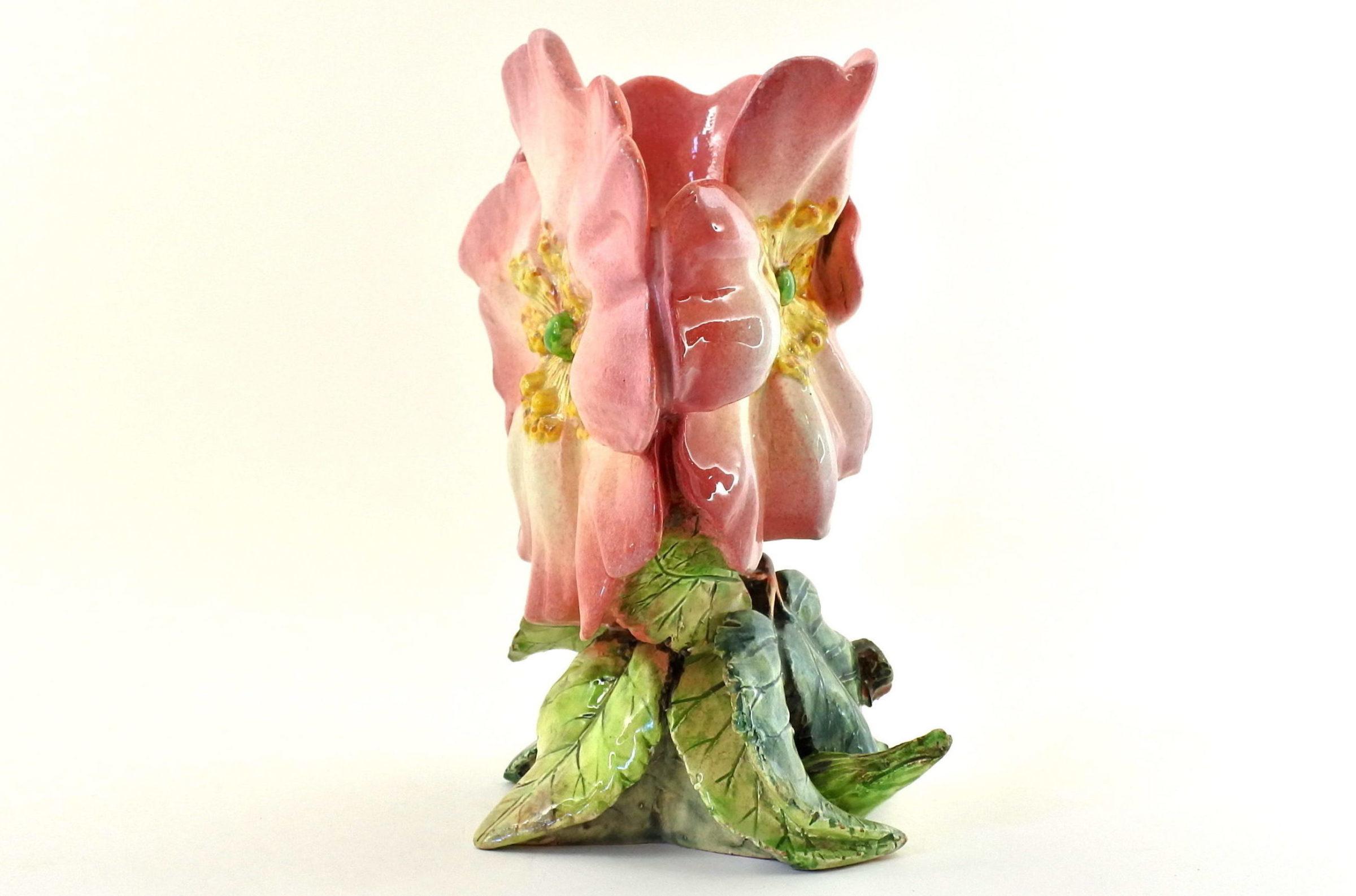Vaso Massier in ceramica barbotine a forma di tre anemoni - Delphin Massier - 4