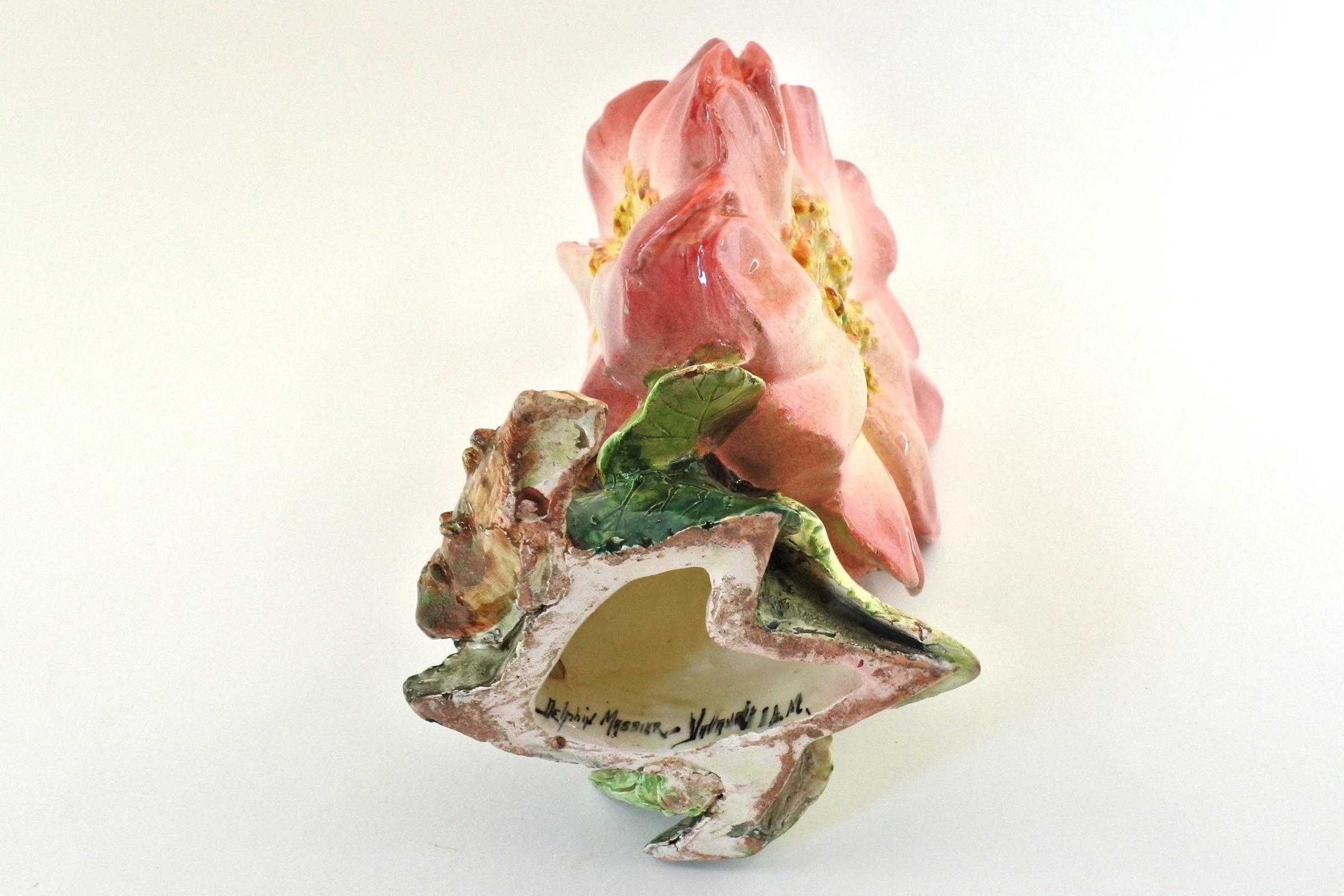 Vaso Massier in ceramica barbotine a forma di tre anemoni - Delphin Massier - 6