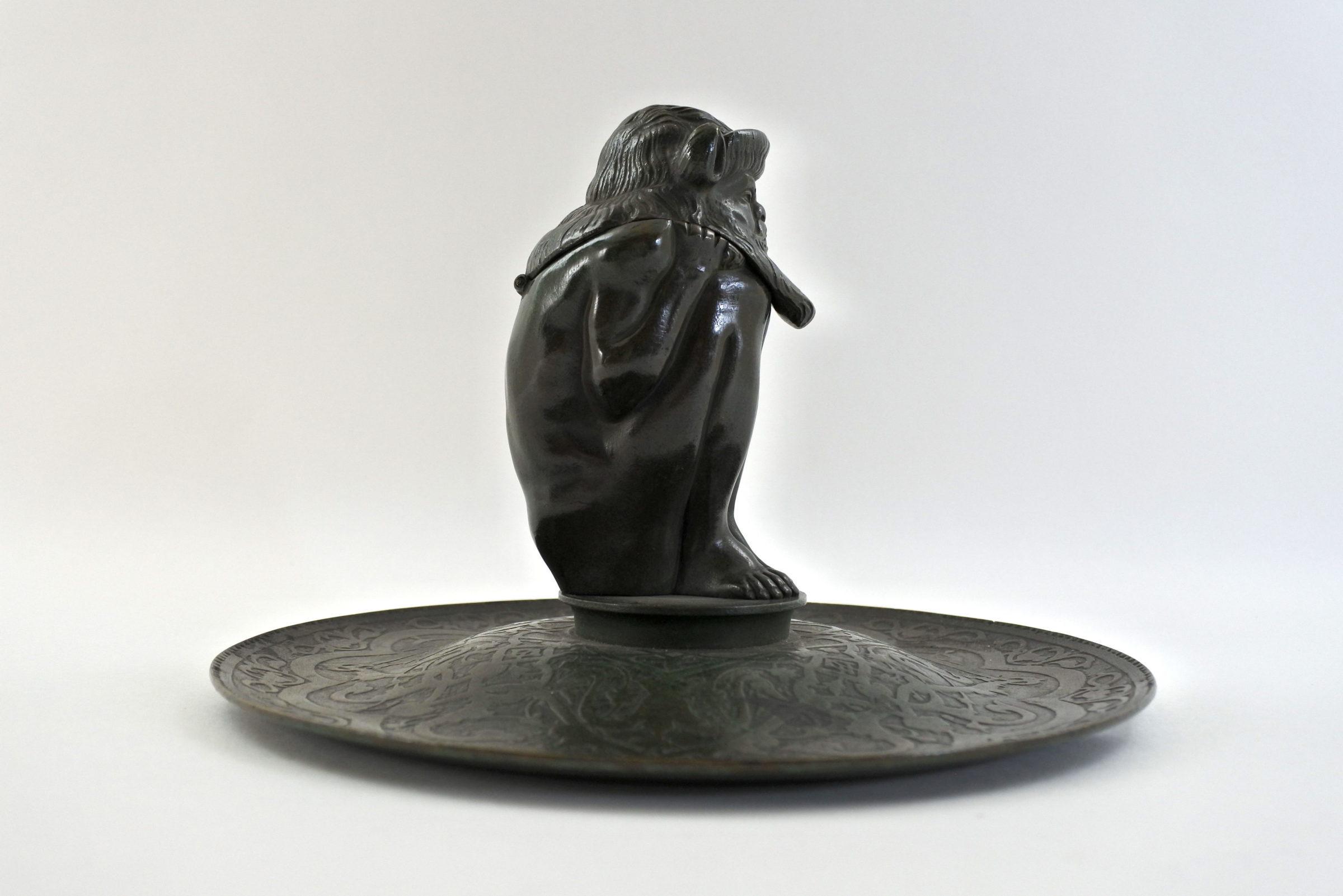 Calamaio in bronzo con presunto bafometto - 4