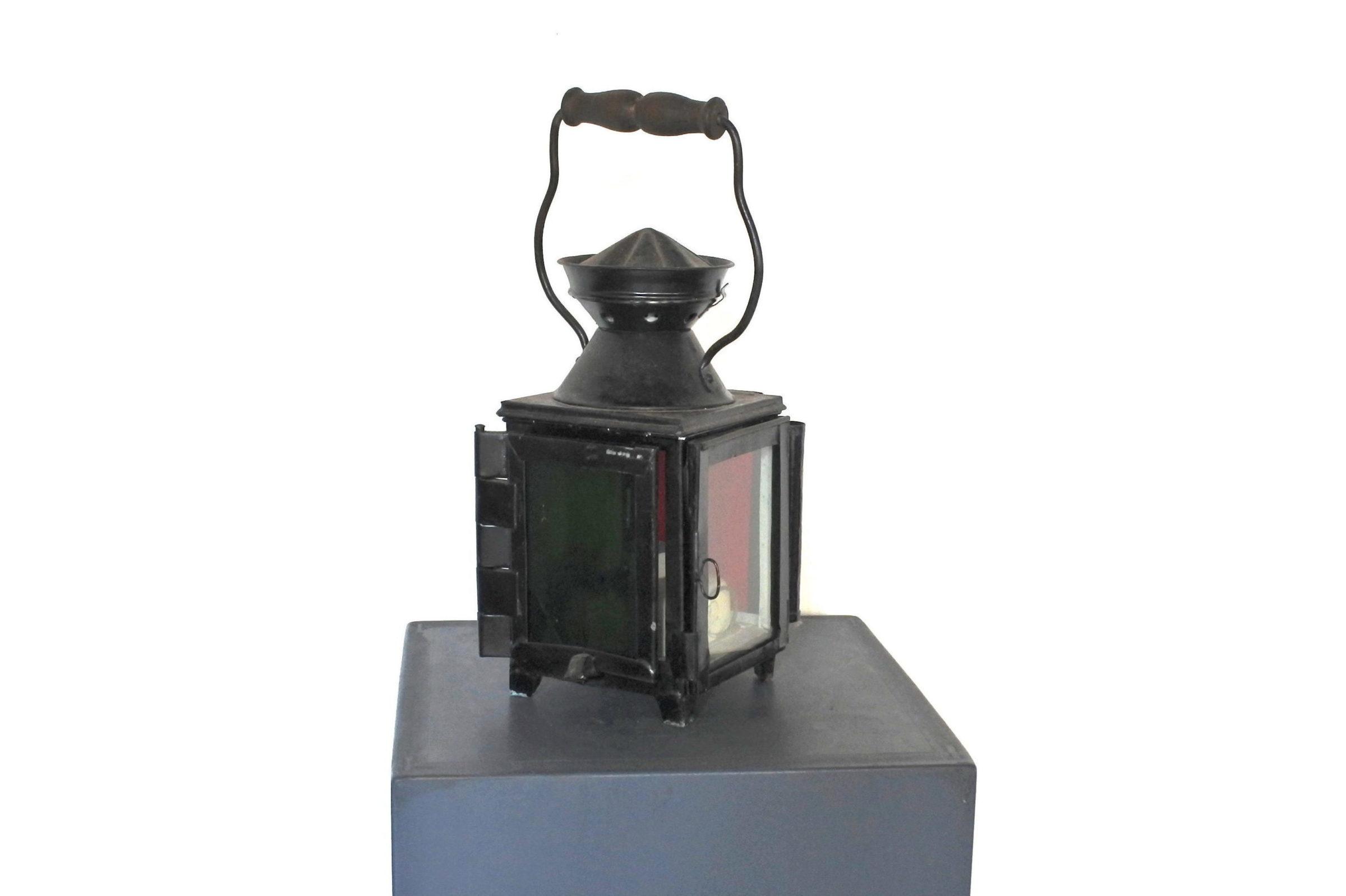 Lanterna da segnalazione a petrolio con vetri bianco rosso e verde - F.S - 2