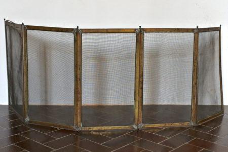 Parafiamma da camino in ottone e fine maglia di ferro