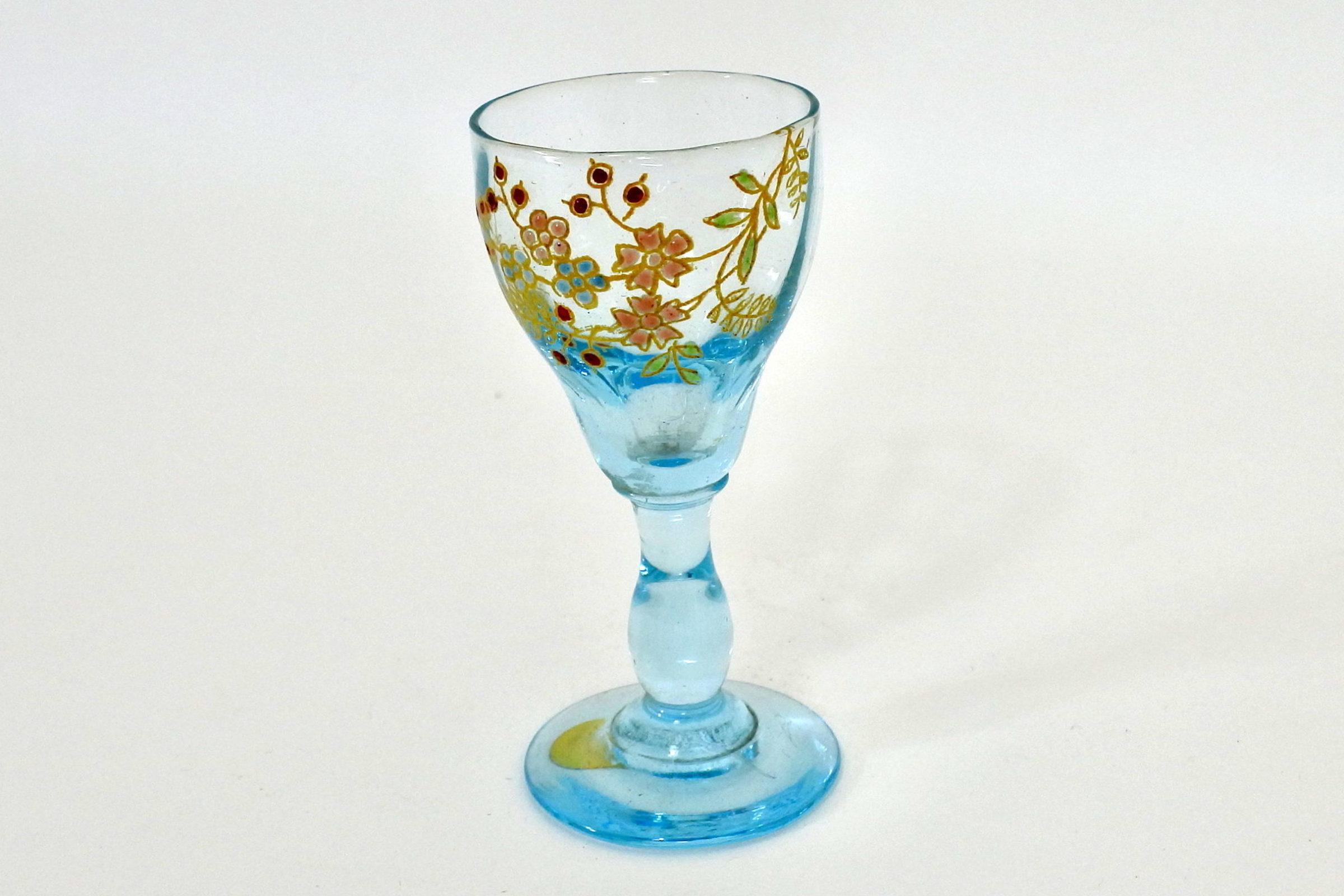 Bicchierino Legras a calice in vetro soffiato azzurro e smalti - 2