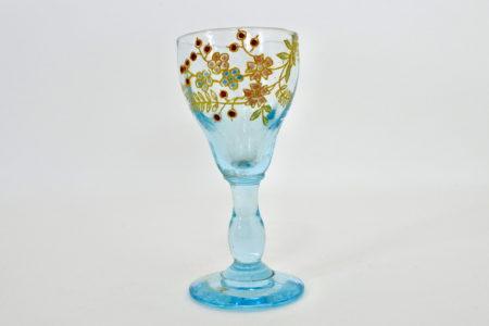 Bicchierino Legras a calice in vetro soffiato azzurro e smalti