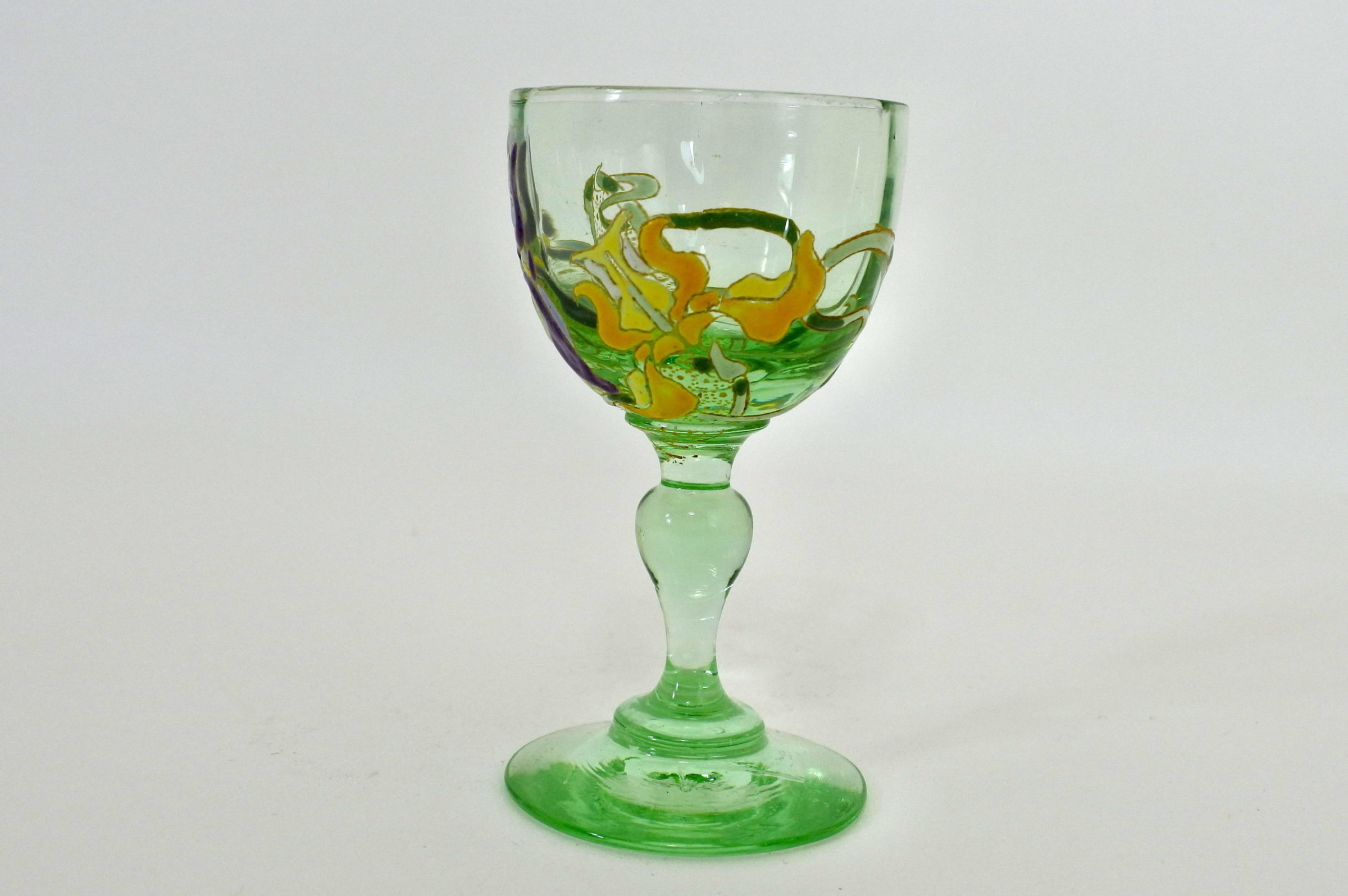 Bicchierino Legras a calice in vetro soffiato e smalti con iris - 3