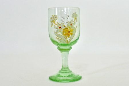 Bicchierino a calice in vetro soffiato e smalti con fiorellini