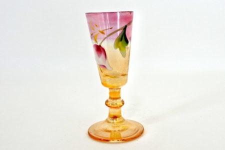 Bicchierino a calice tronco conico in vetro soffiato e smalti