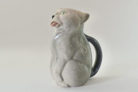 Brocca in ceramica barbotine a forma di gatto