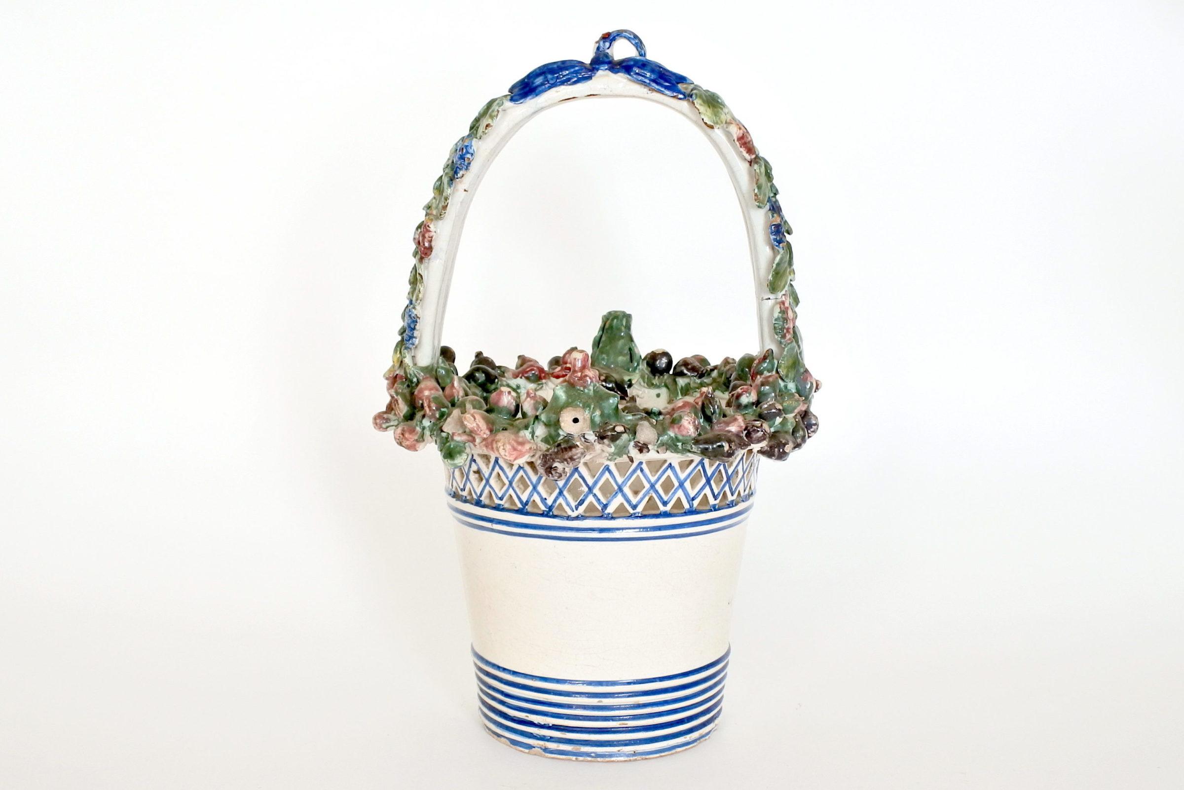 Cestino in ceramica decorato con stemma Sabaudo - 3