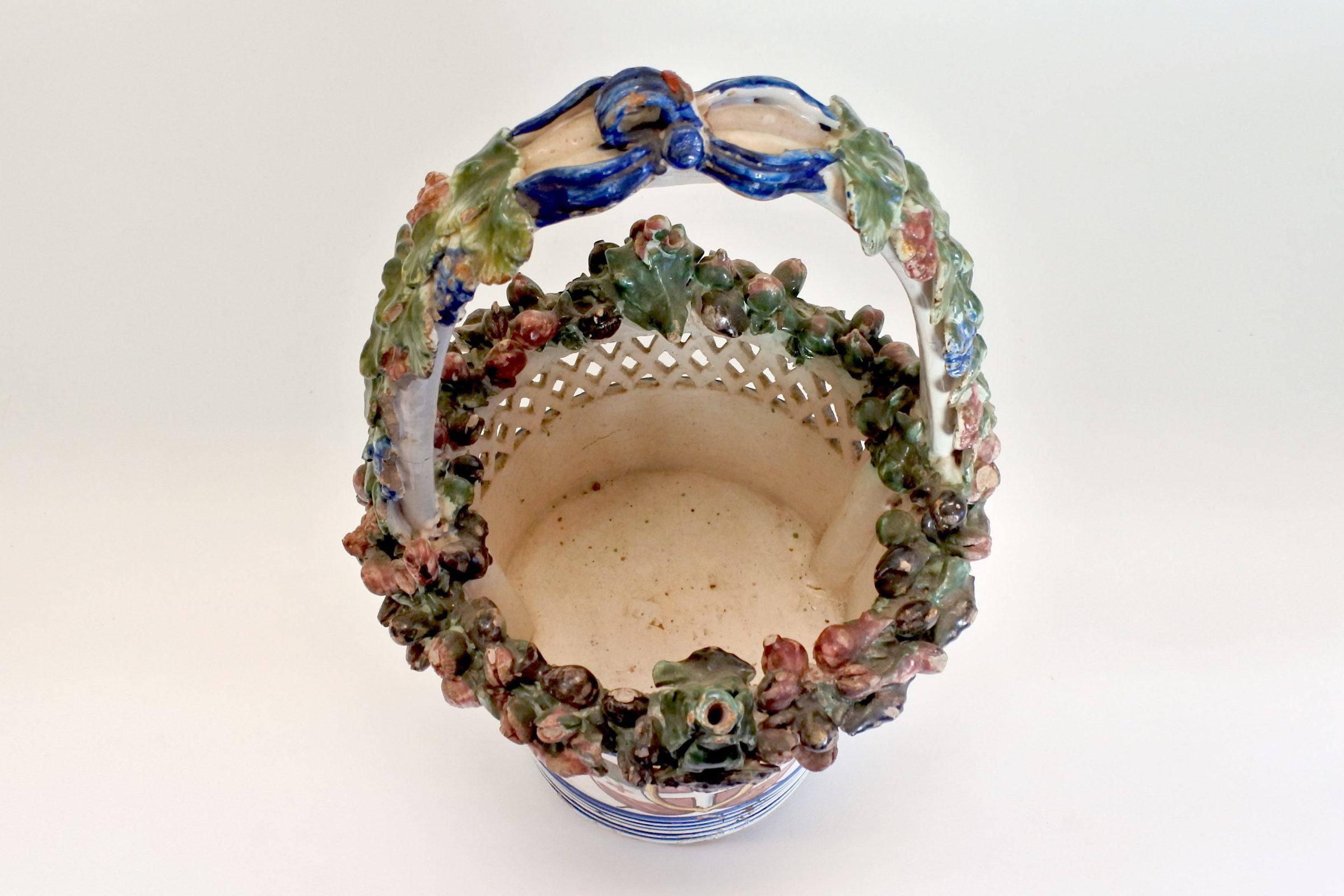 Cestino in ceramica decorato con stemma Sabaudo - 5