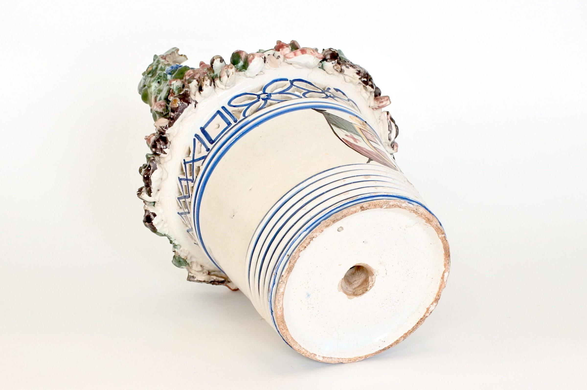Cestino in ceramica decorato con stemma Sabaudo - 6