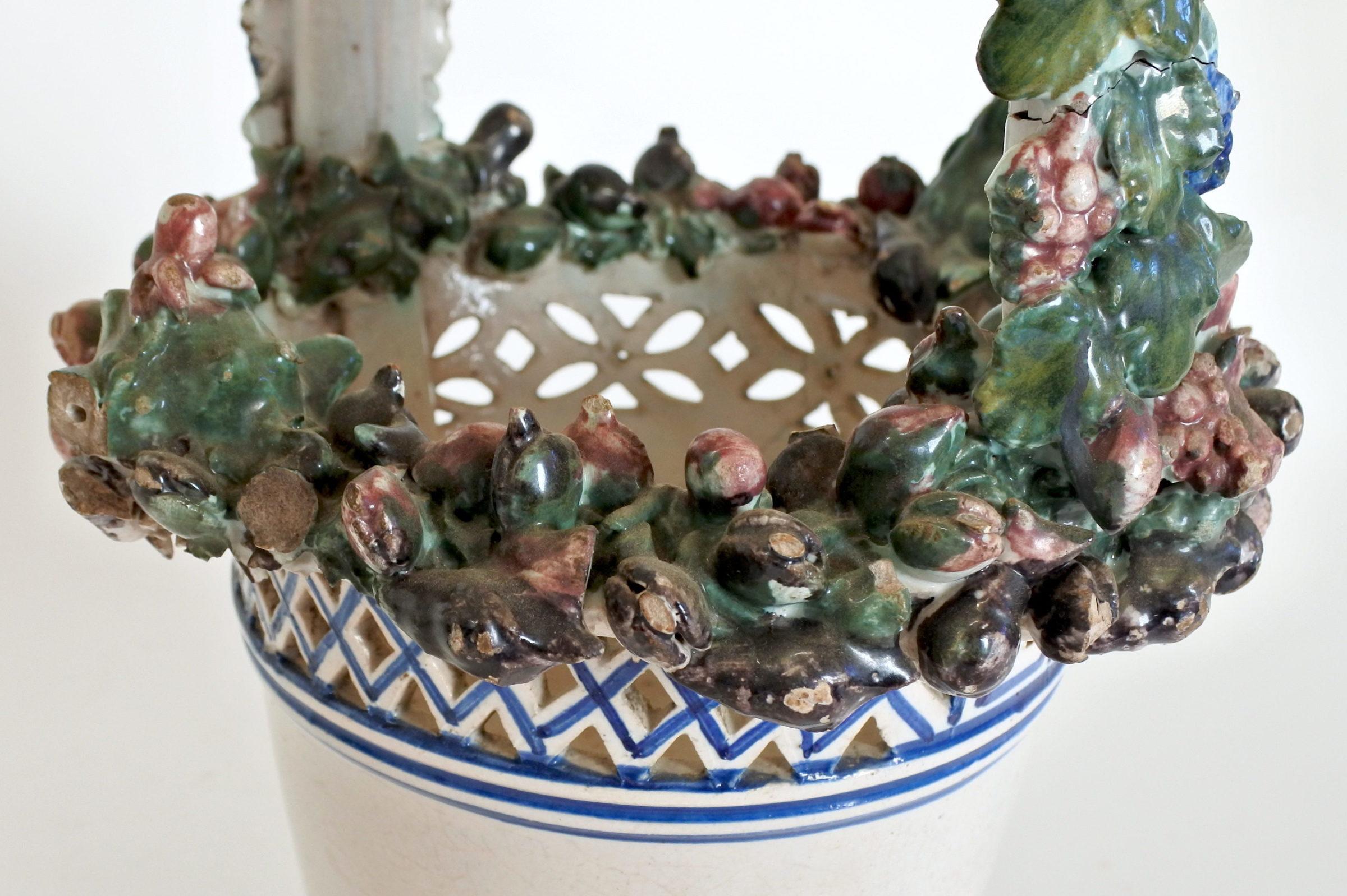 Cestino in ceramica decorato con stemma Sabaudo - 8