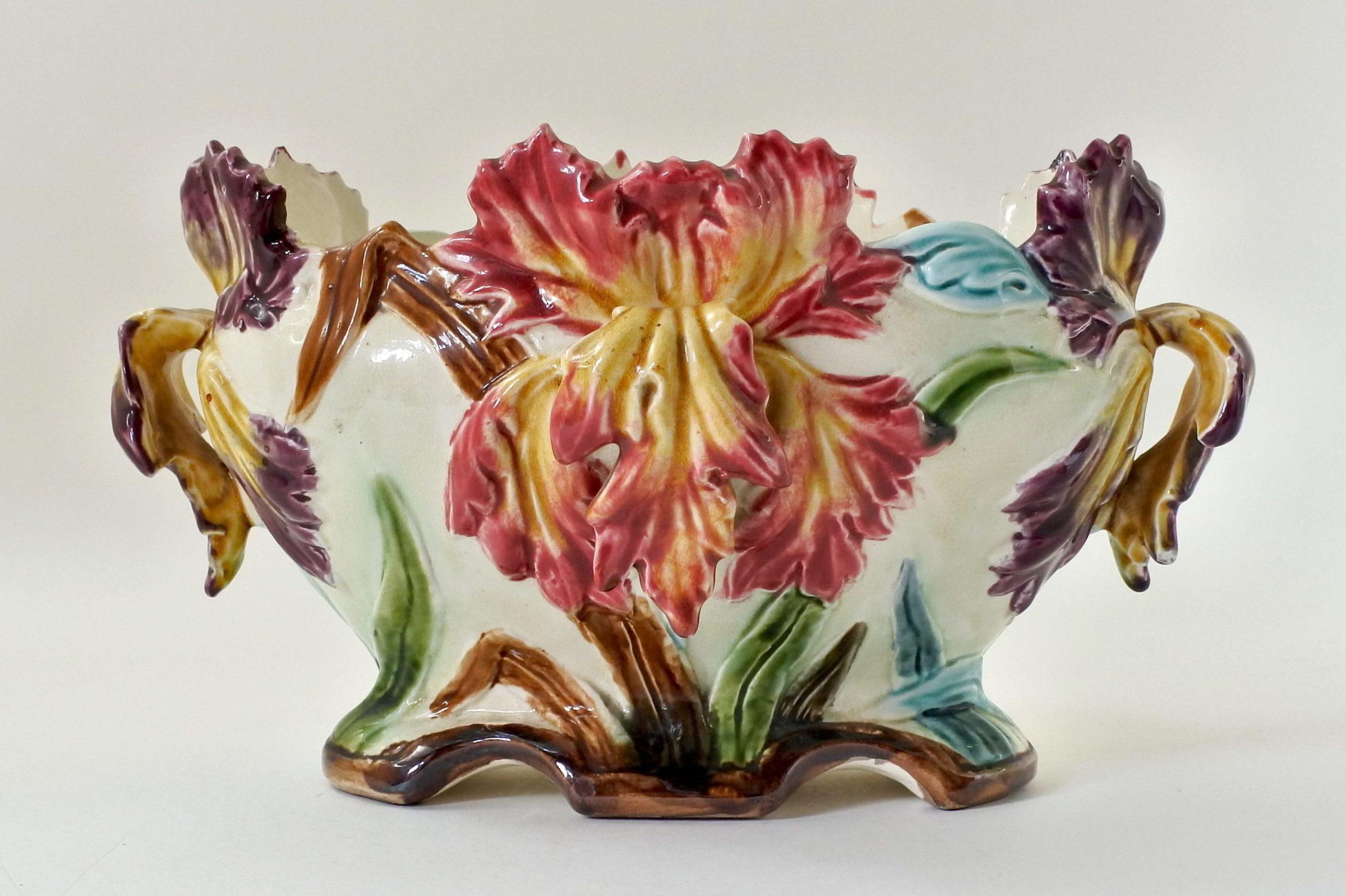 Jardinière Onnaing in ceramica barbotine con iris - 2