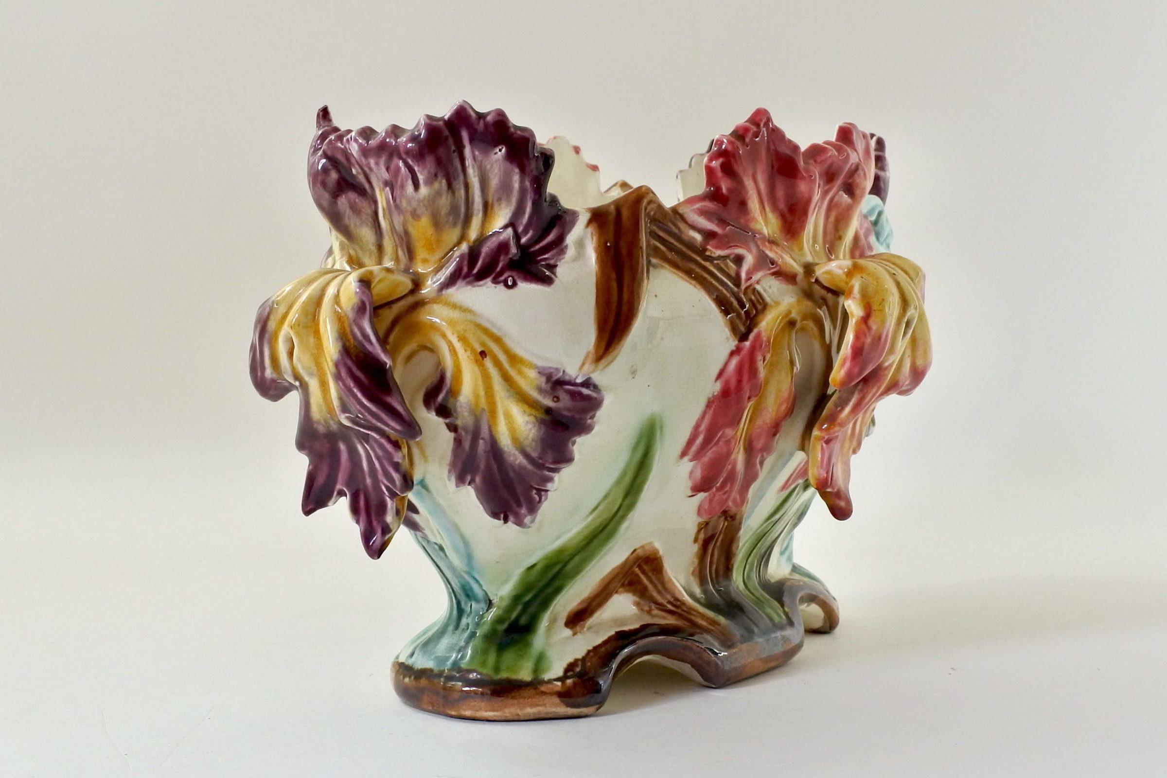 Jardinière Onnaing in ceramica barbotine con iris - 3