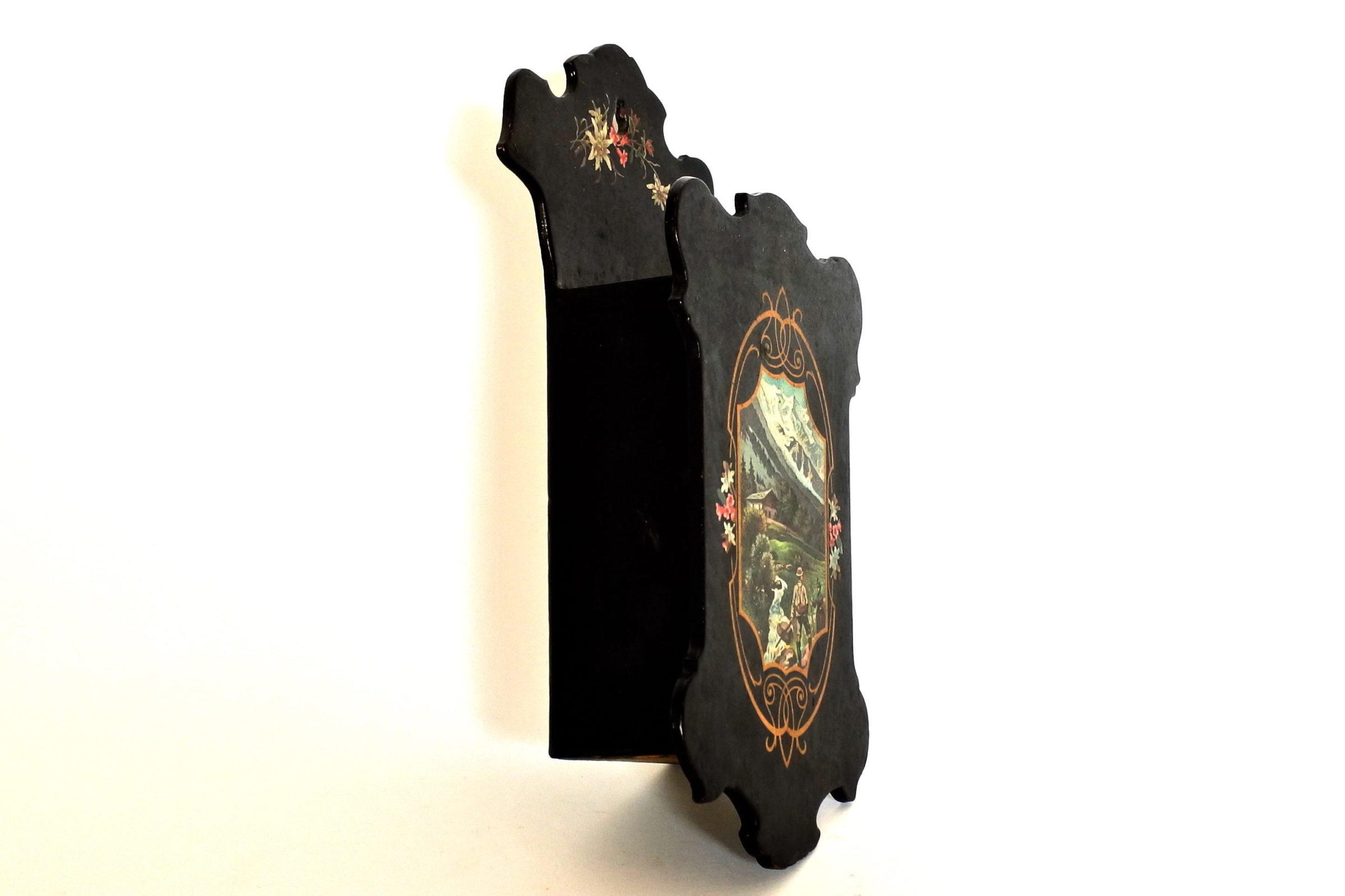 Portaspazzola in papier mache con paesaggio montano - 2