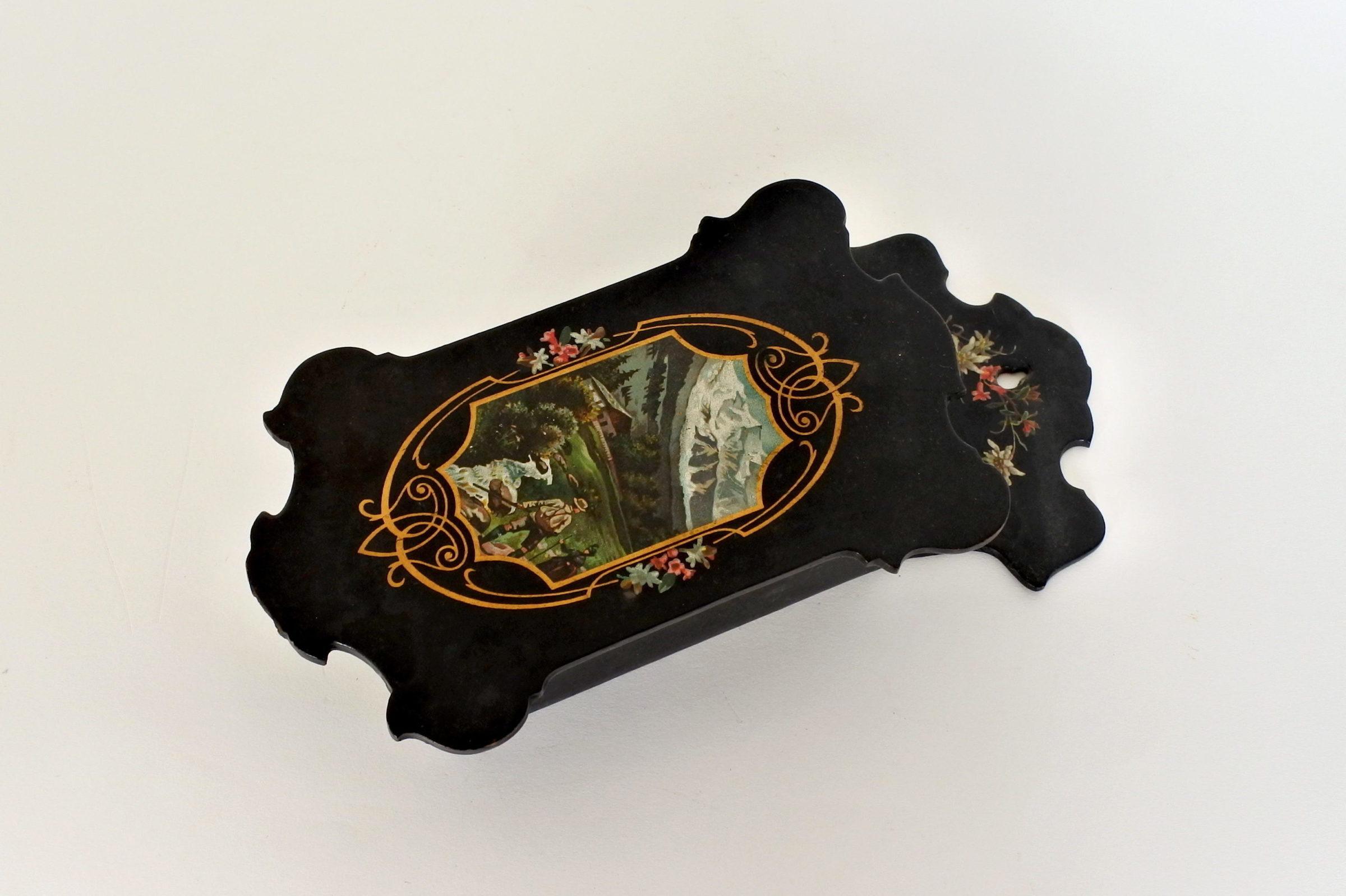 Portaspazzola in papier mache con paesaggio montano - 3