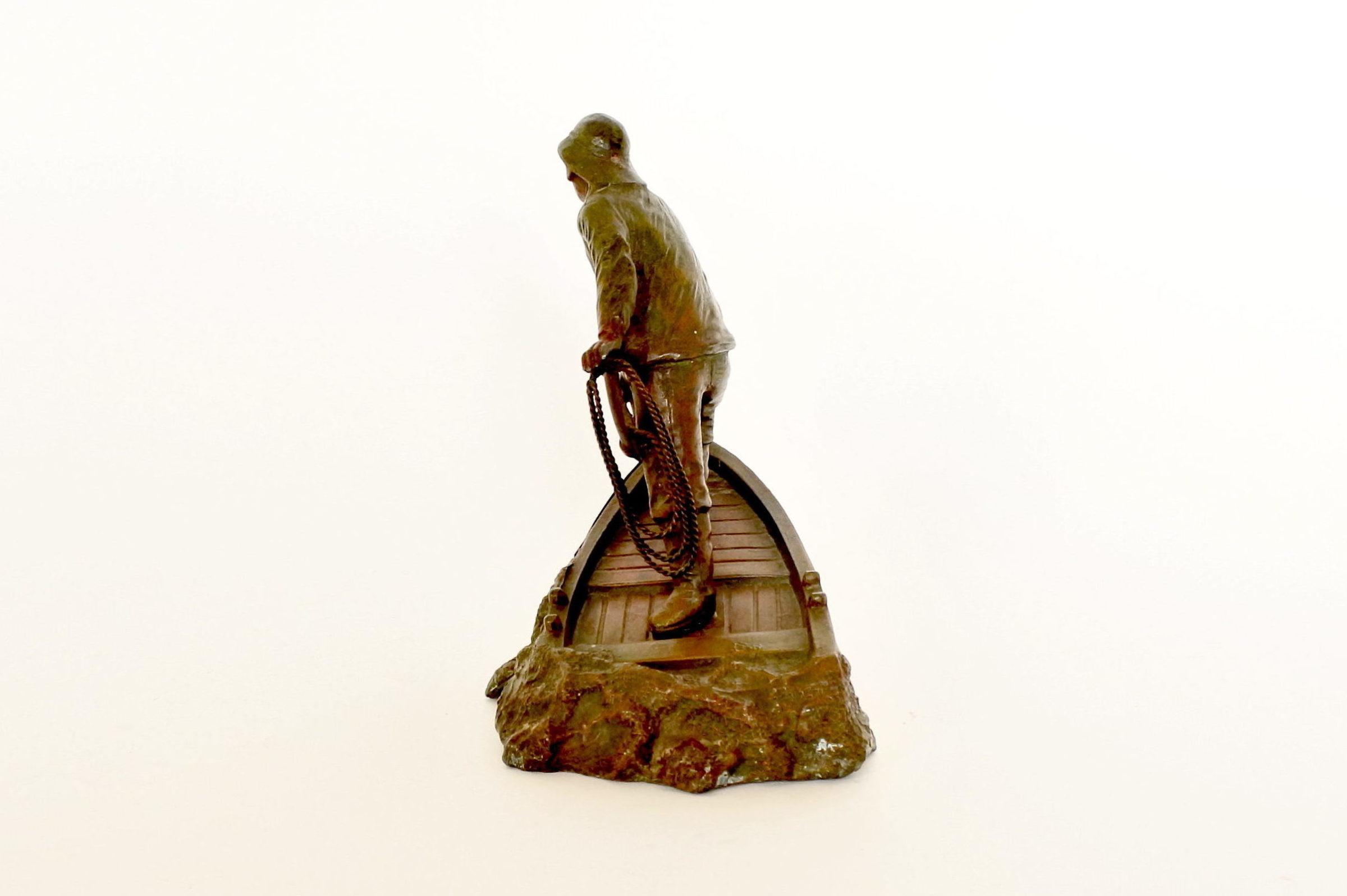 Statuina in bronzo patinato con marinaio - A.Ouvet - 2