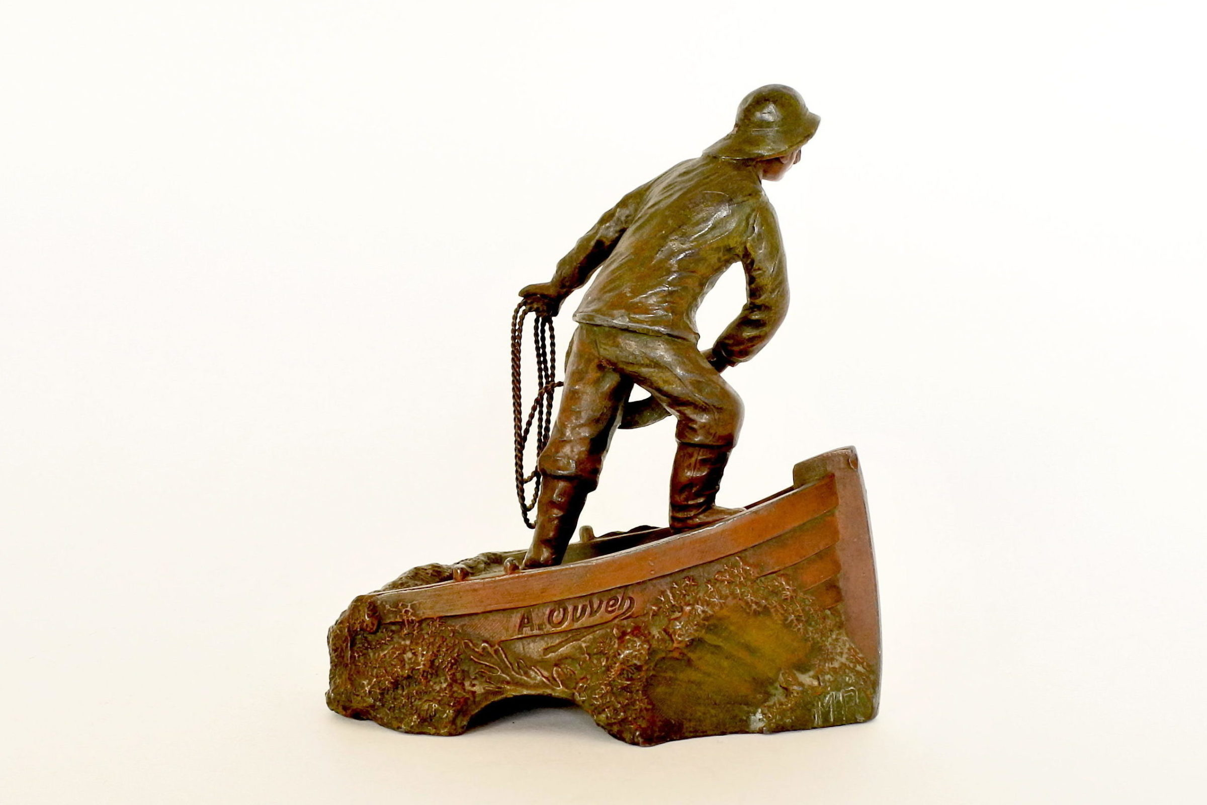 Statuina in bronzo patinato con marinaio - A.Ouvet - 3