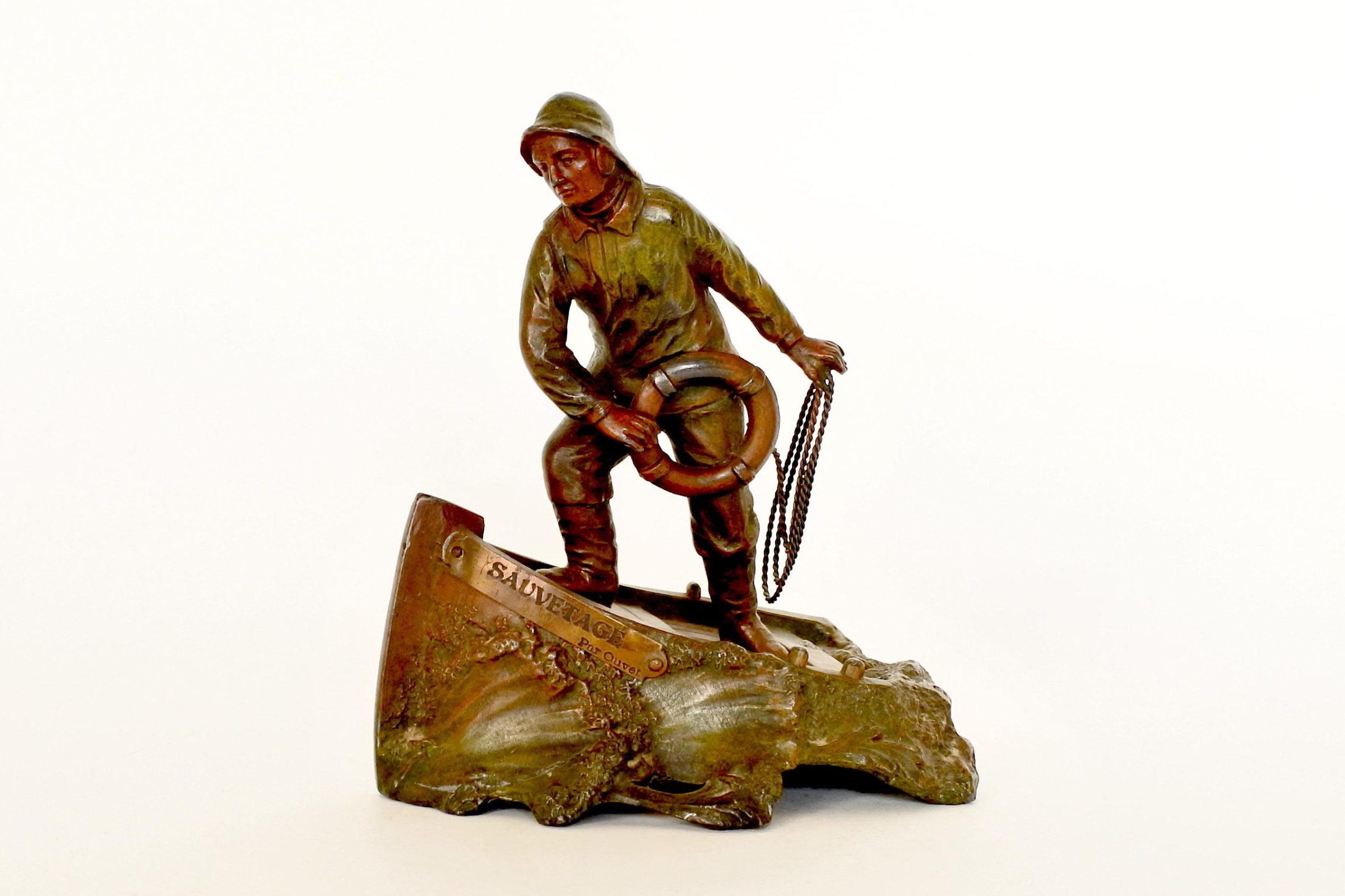 Statuina in bronzo patinato con marinaio - A.Ouvet