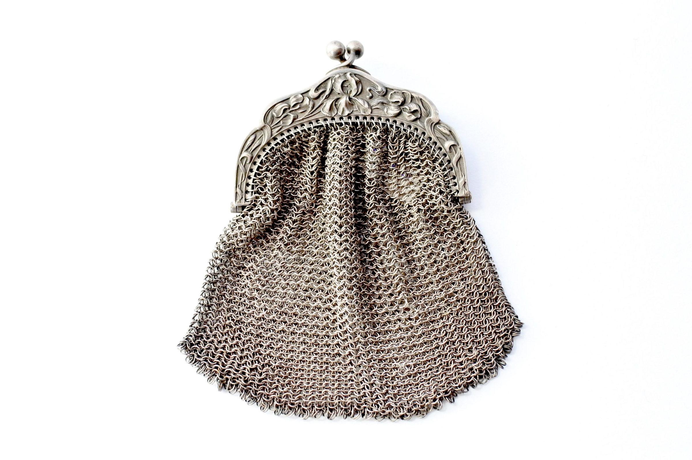 Borsellino in maglia d'argento - chiusura con decoro liberty - 2