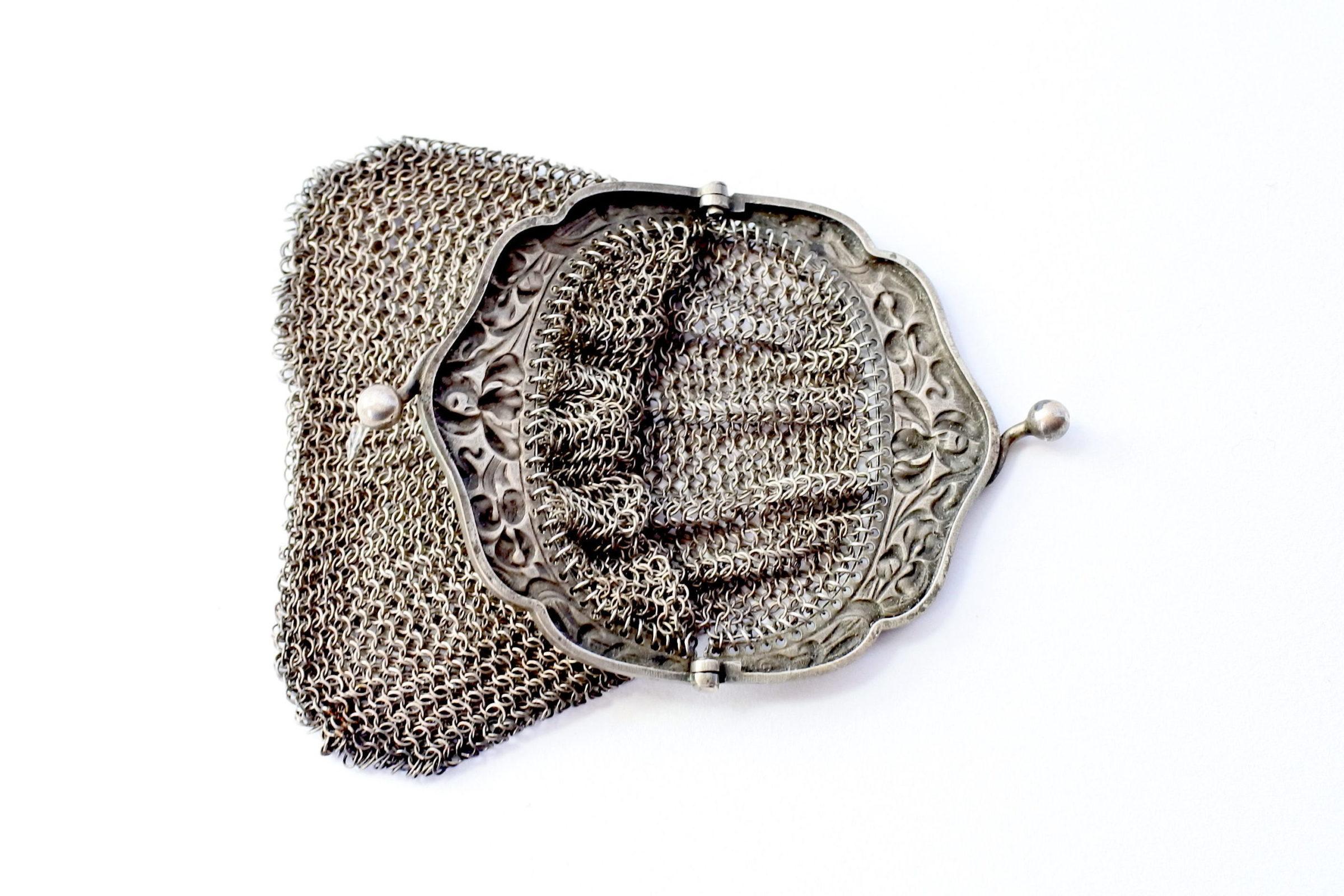Borsellino in maglia d'argento - chiusura con decoro liberty - 3