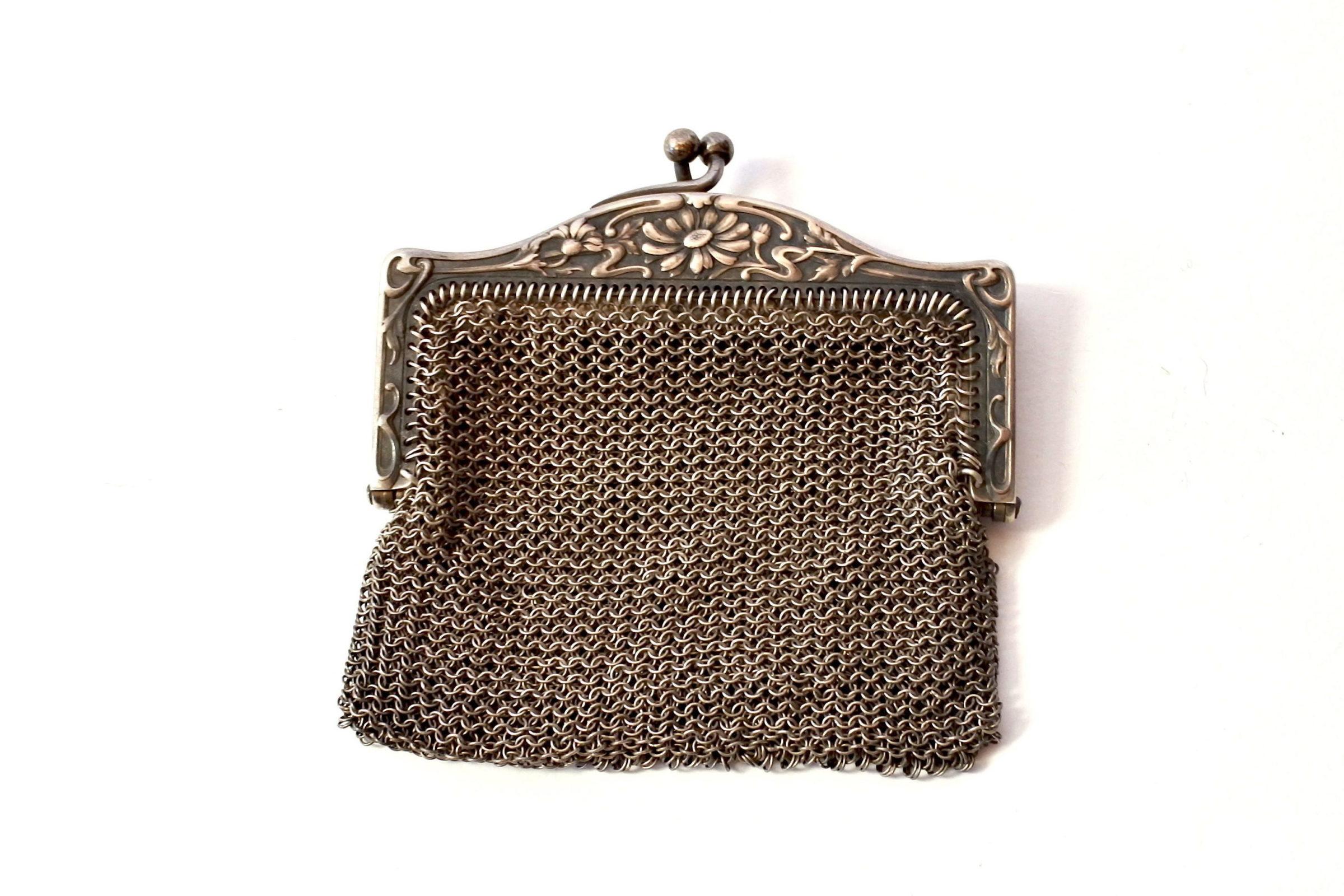 Borsellino in maglia d'argento con doppio borsellino interno - 2