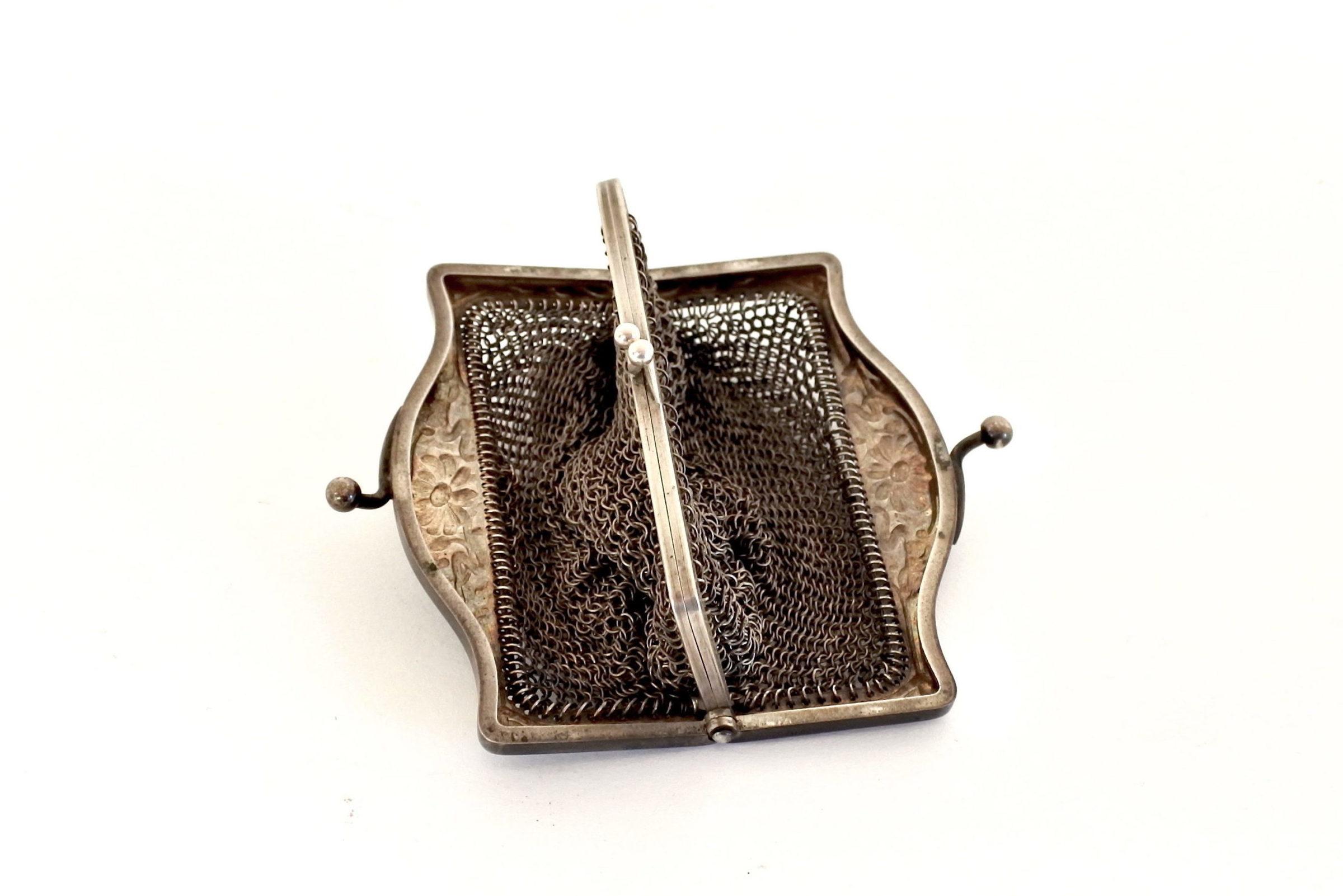 Borsellino in maglia d'argento con doppio borsellino interno - 3