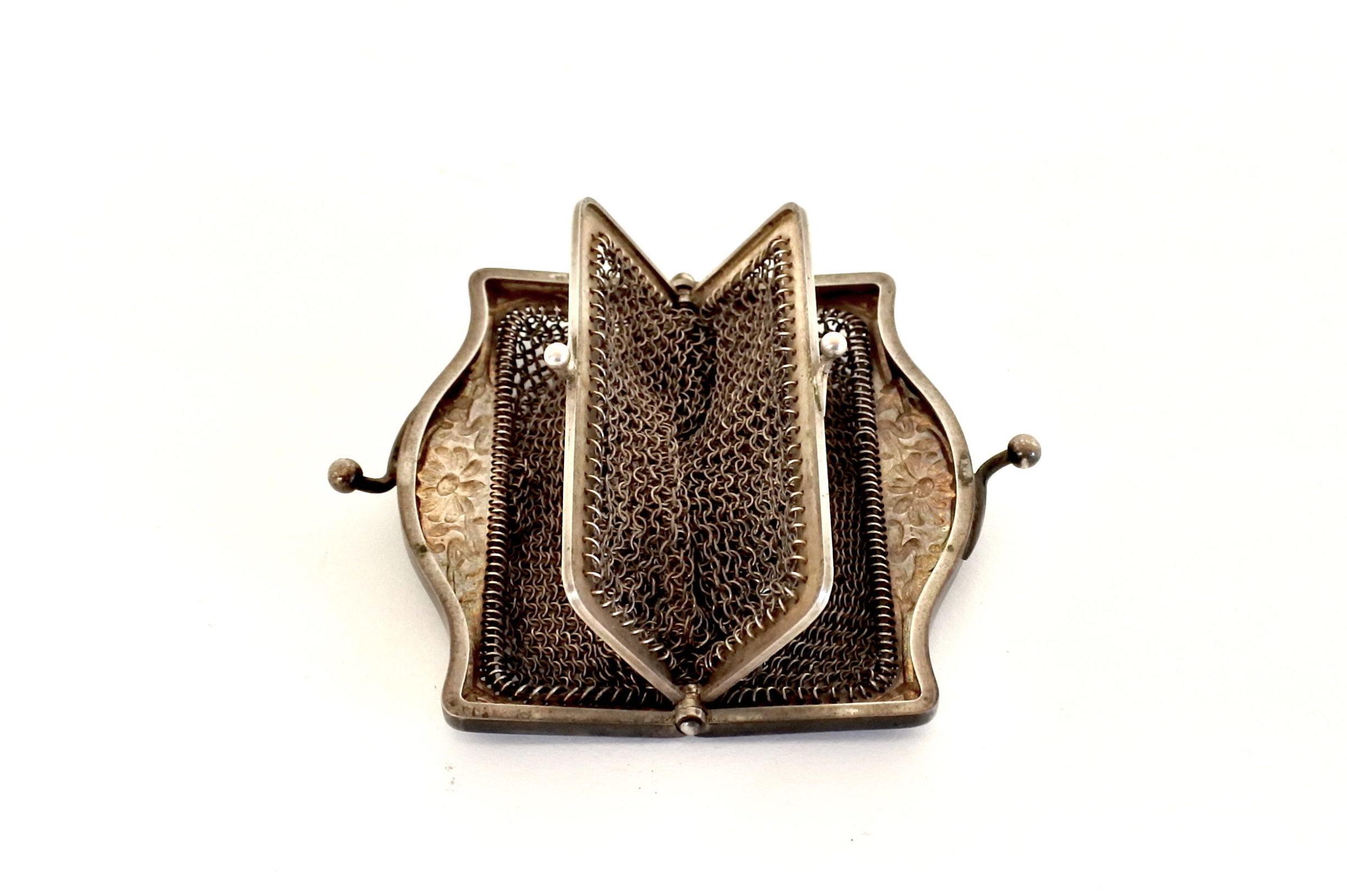 Borsellino in maglia d'argento con doppio borsellino interno - 4