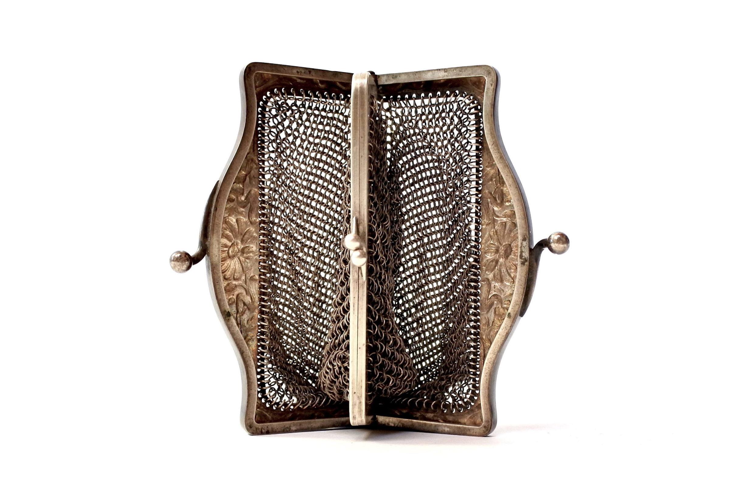Borsellino in maglia d'argento con doppio borsellino interno - 5