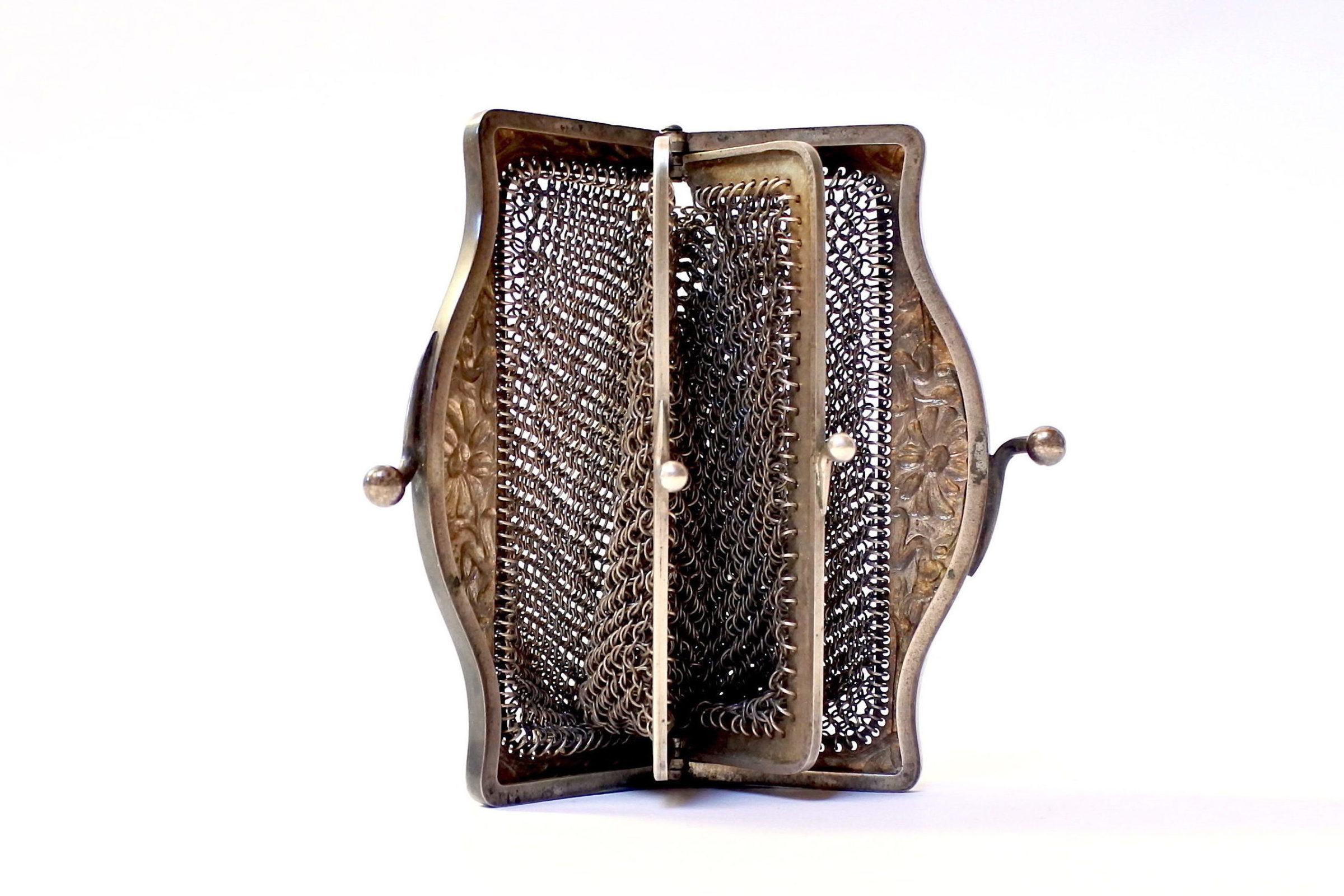 Borsellino in maglia d'argento con doppio borsellino interno - 6