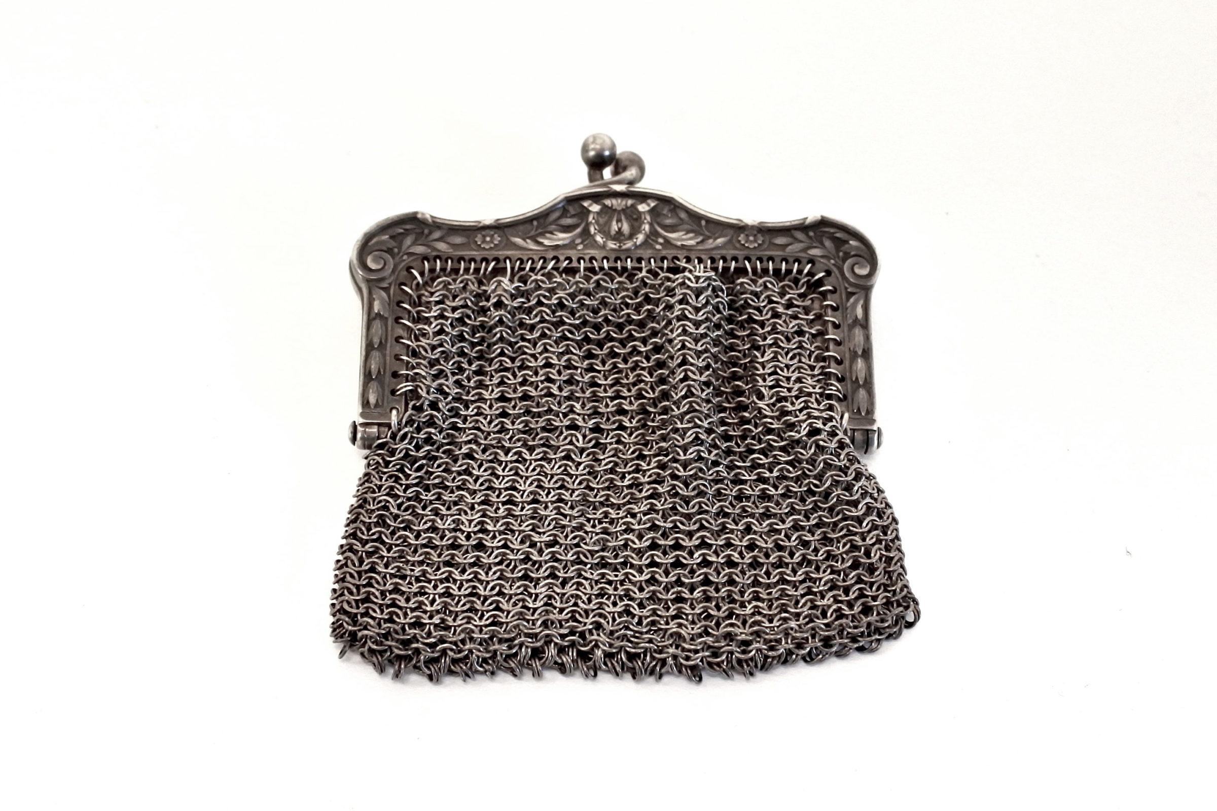 Borsellino in maglia d'argento con separatore vano interno - 2