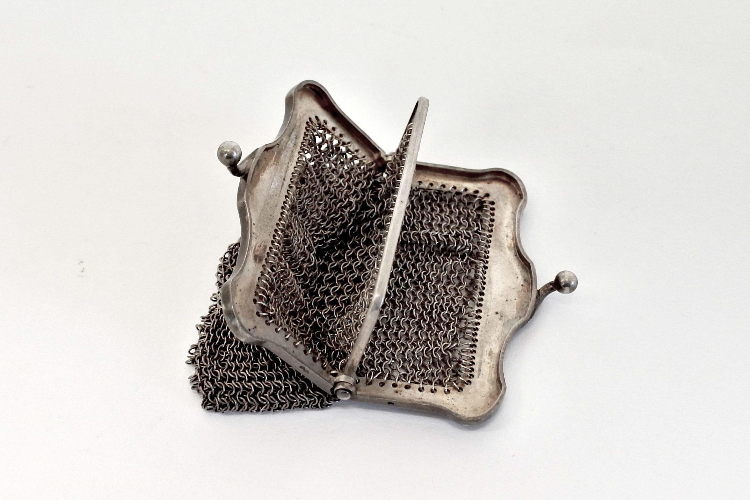 Borsellino in maglia d'argento con separatore vano interno - 3